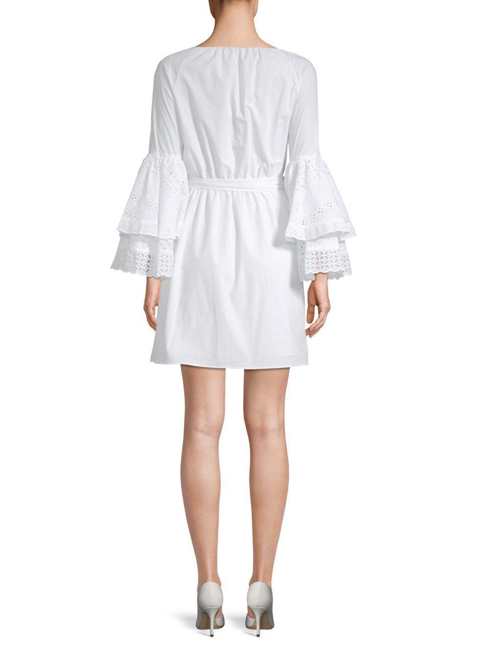 e01c9b852e2c3 Lyst - Rebecca Minkoff Melly Bell-sleeve Cotton Wrap Dress in White