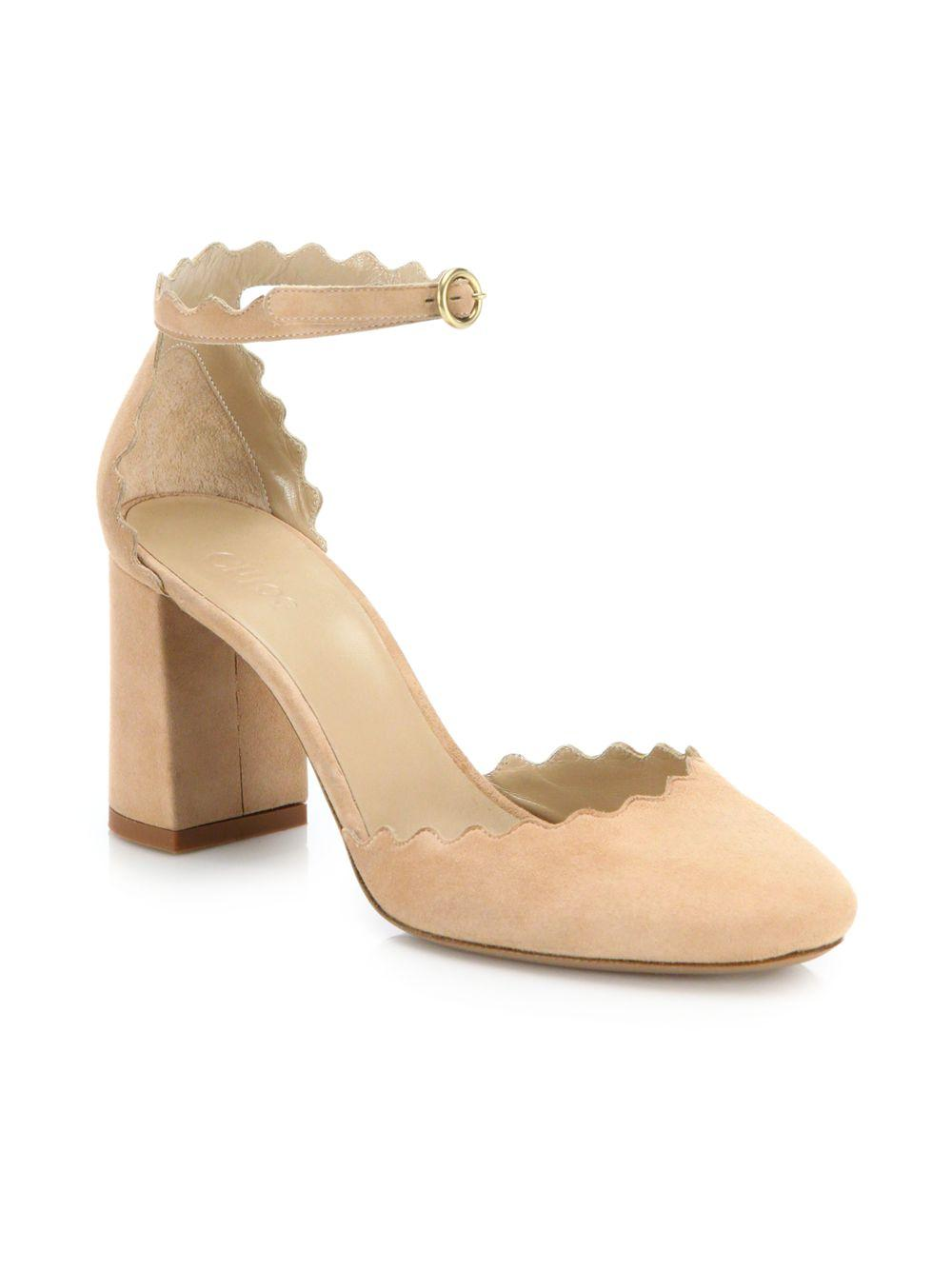 1e0d96711811 Chloé. Women s Natural Lauren Scalloped Suede D orsay Block Heel Pumps