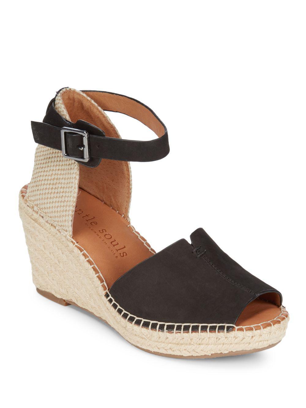 efe6d547feee09 Lyst - Gentle Souls Charli Leather Espadrille Wedge Sandals in Black