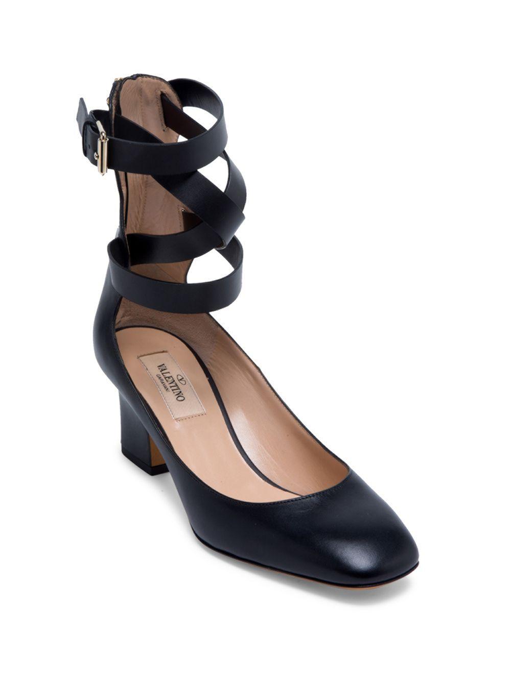 e901e63f645c Valentino - Black Rockstud Leather Ankle-wrap Pumps - Lyst. View fullscreen