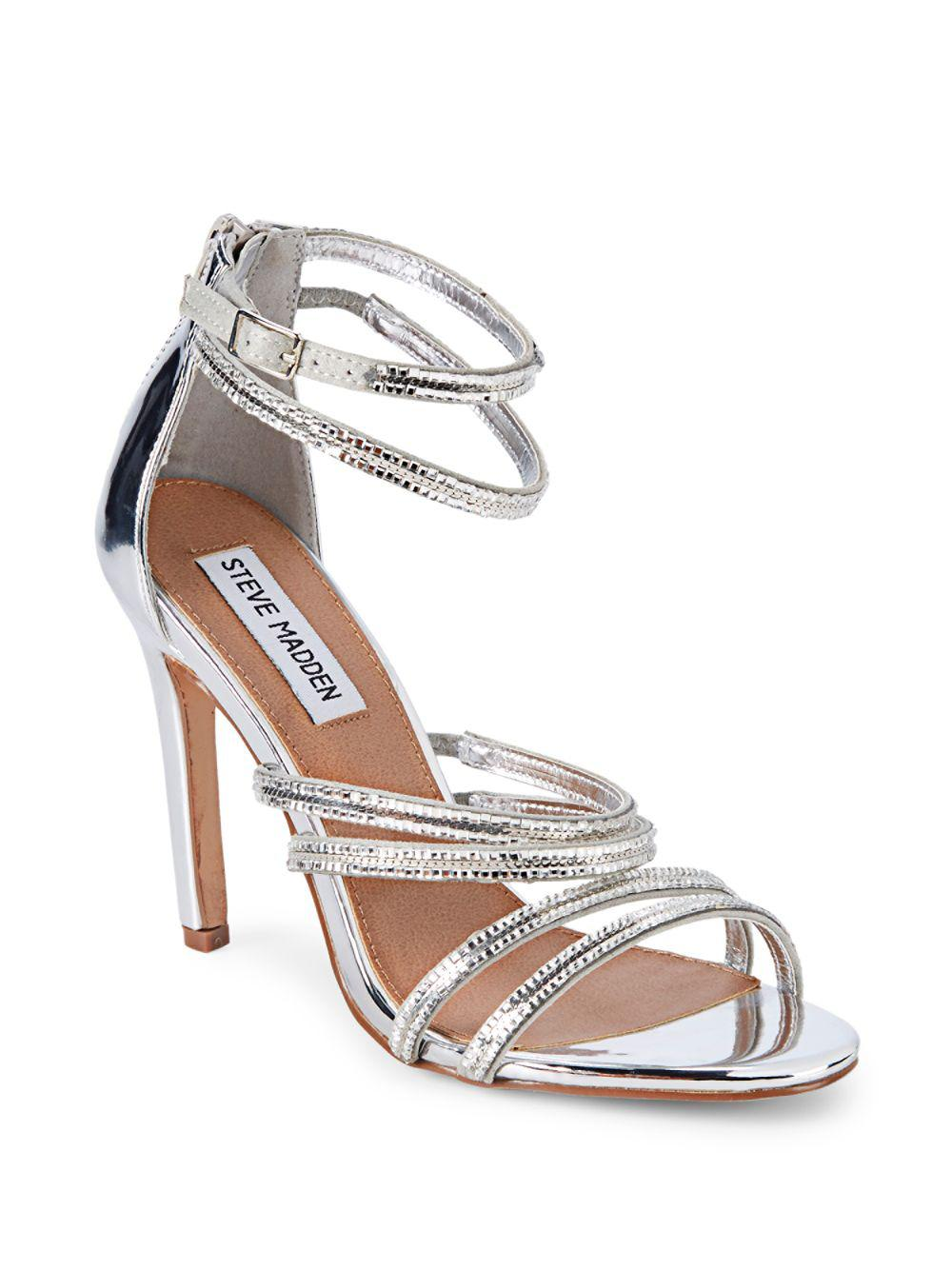 1ce3a4b2a34 Steve Madden - Metallic Faustina Embellished Strappy Sandals - Lyst. View  fullscreen
