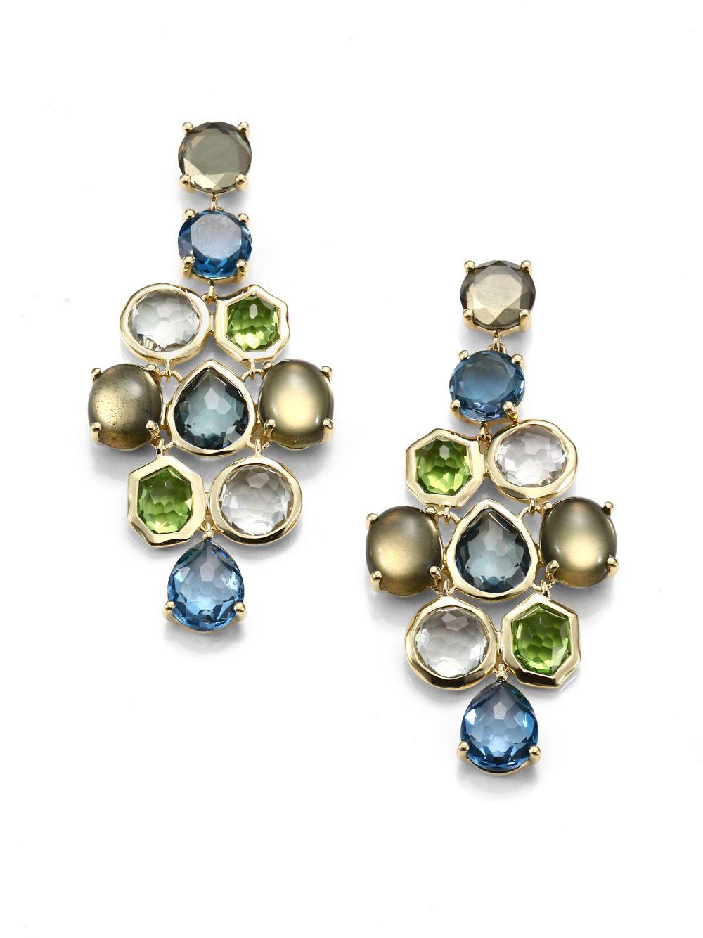 Lyst ippolita multi gemstone 18k yellow gold chandelier drop view fullscreen arubaitofo Images