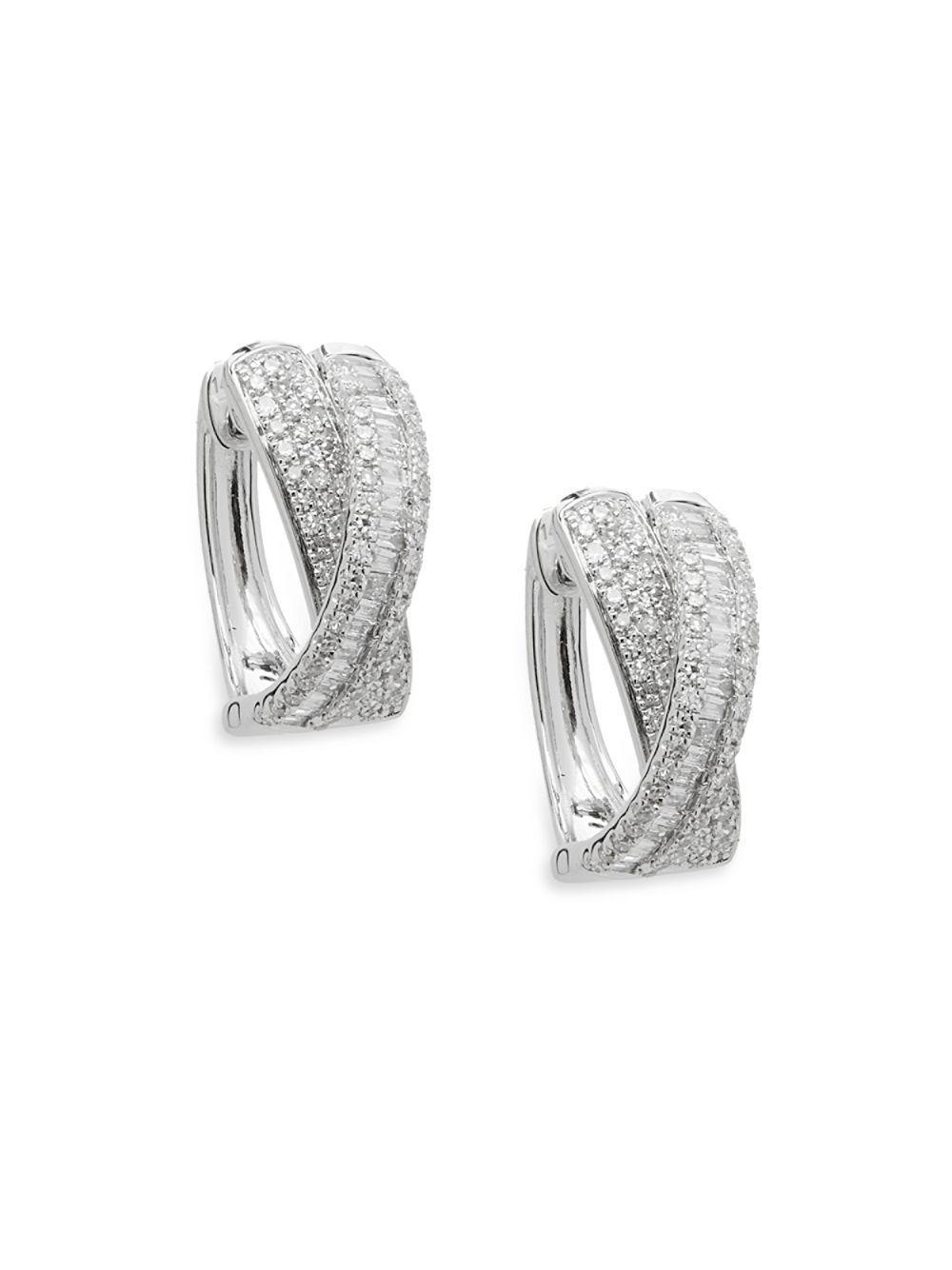 Effy Women S Metallic Diamond And 14k White Gold Hoop Earrings