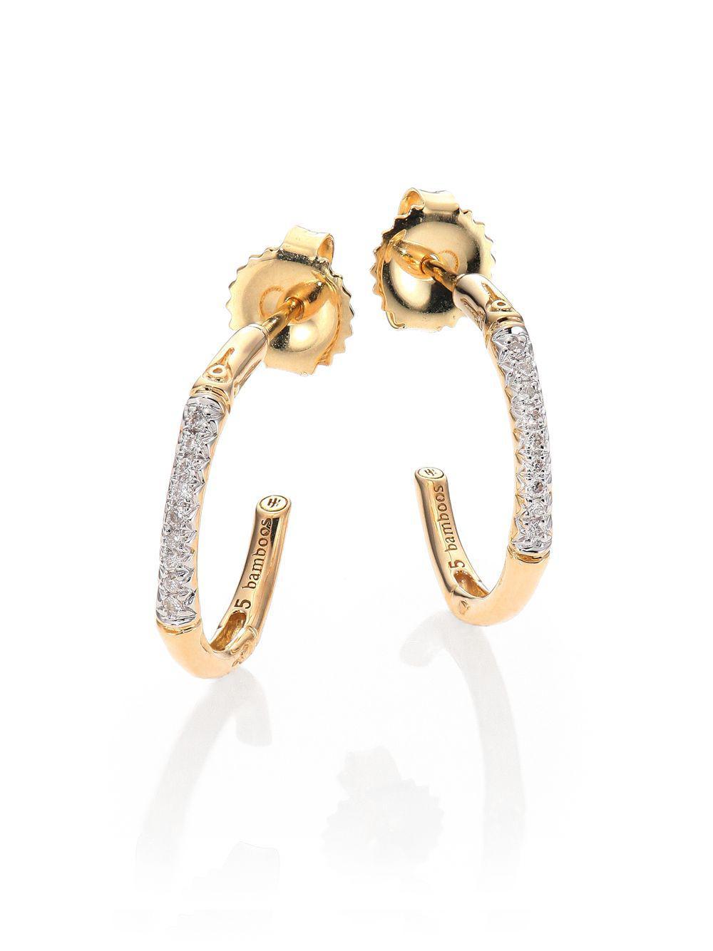 438d8388163 John Hardy. Women s Metallic Bamboo Extra Small Diamond   18k Yellow Gold  Hoop Earrings
