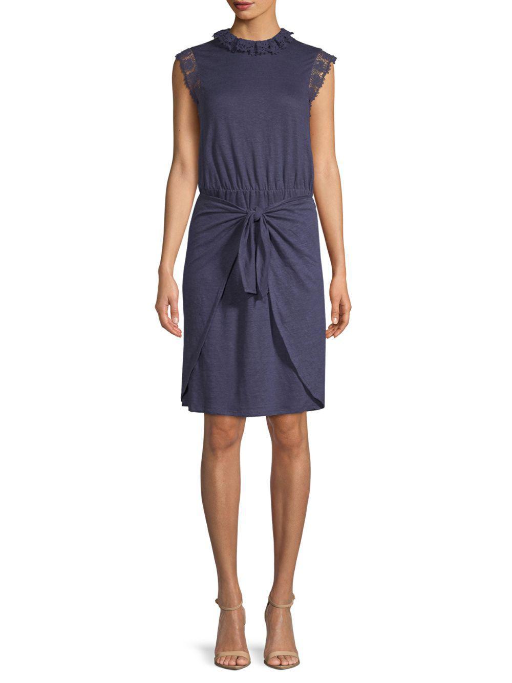 acea2a9d2b Lyst - Rebecca Taylor Crochet Sleeveless Linen Dress in Blue - Save ...