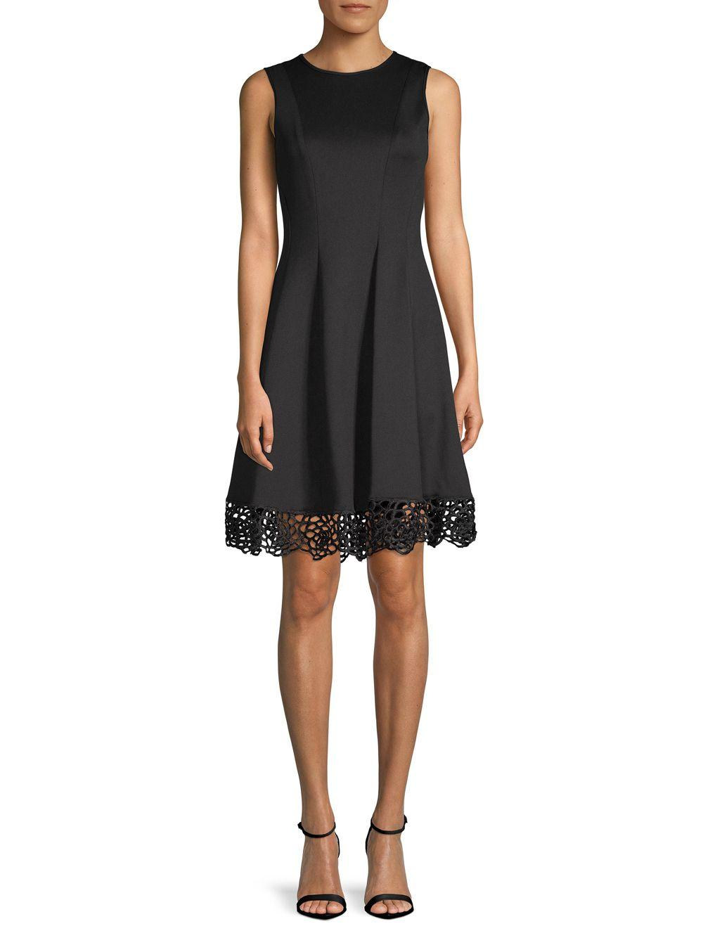 26cf14f22178b Donna Ricco Pleated Fit-&-flare Dress in Black - Lyst