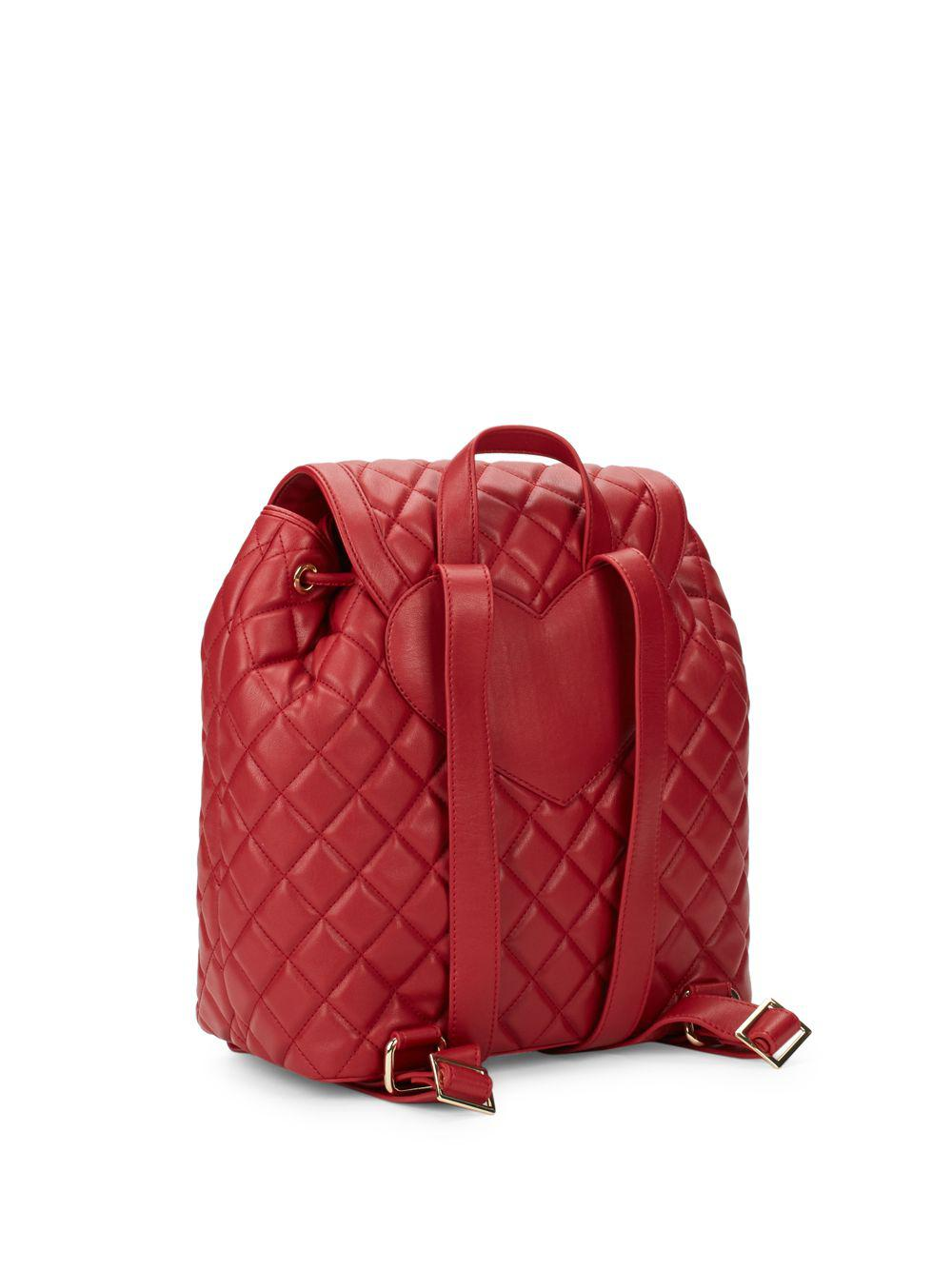 3544f6cc0101 Lyst - Love Moschino Quilted Drawstring Backpack in Red