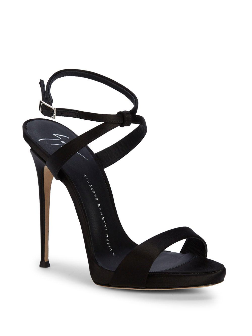 bc5cb8f01a Giuseppe Zanotti Embellished Heel X-cross Sandals in Black - Lyst