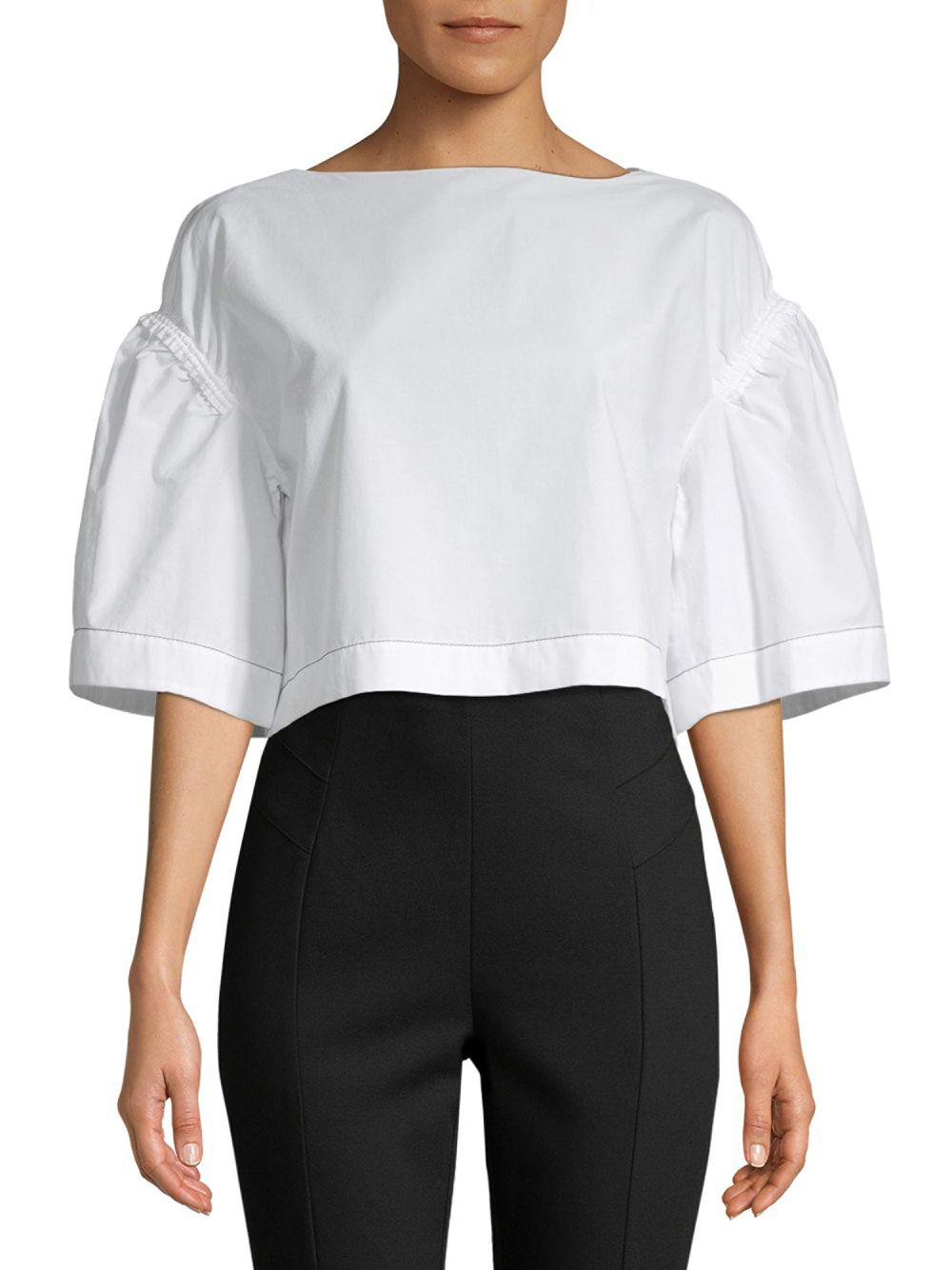 2d17e10a4083e4 Lyst - 3.1 Phillip Lim Puff-sleeve Cropped Blouse in White