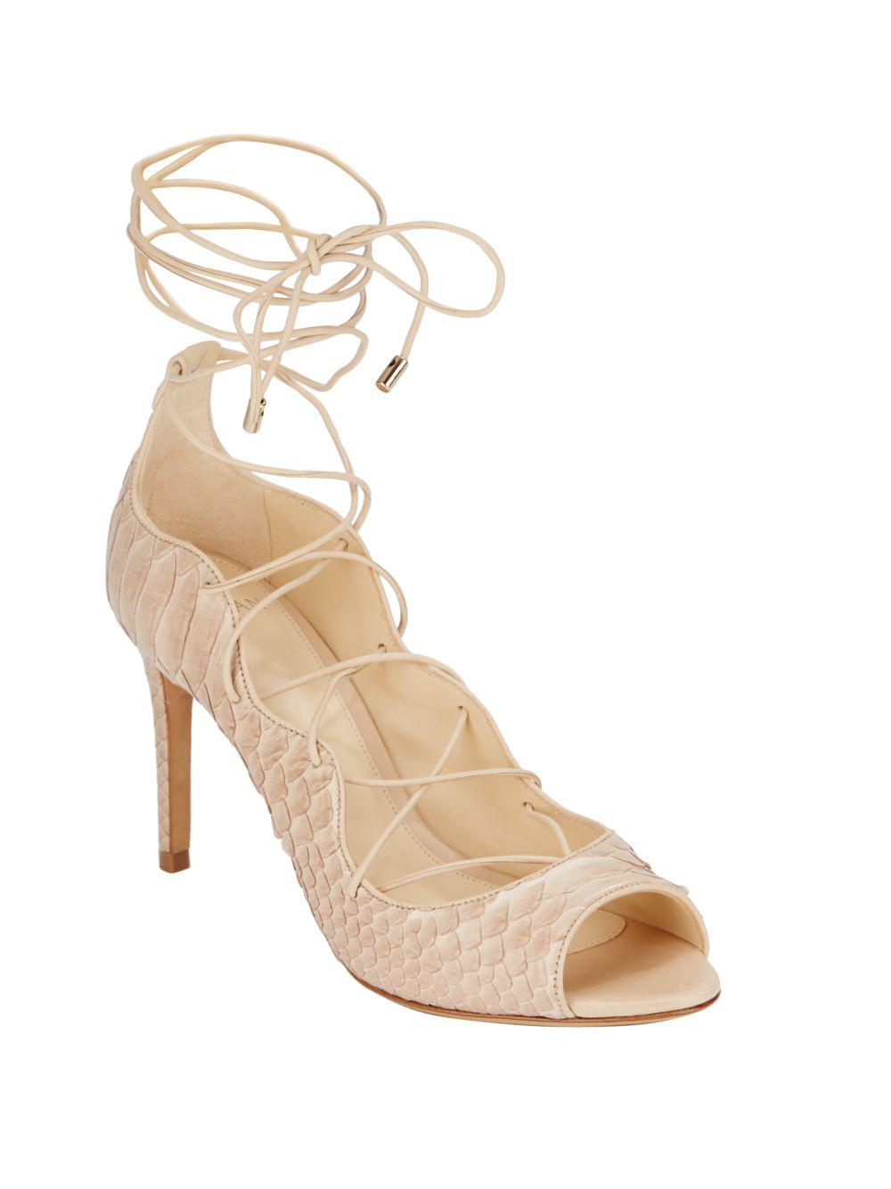 46833bb1462 Alexandre Birman Scalloped Python Lace-up Pumps in Natural - Lyst