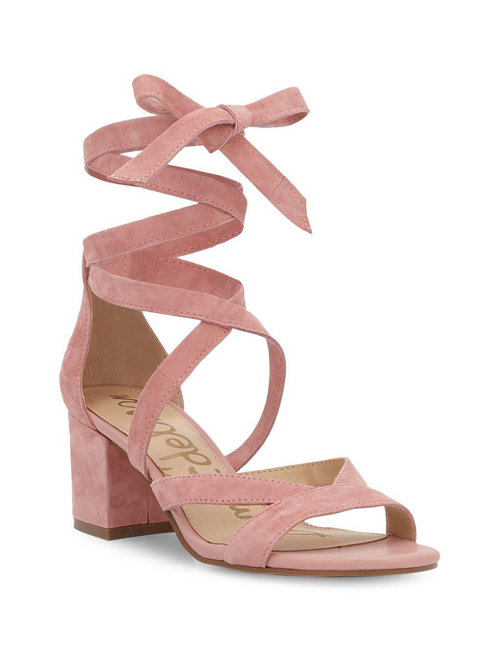 0f2b1f645e43 Lyst - Sam Edelman Sheri Suede Block Heel Sandals in Pink