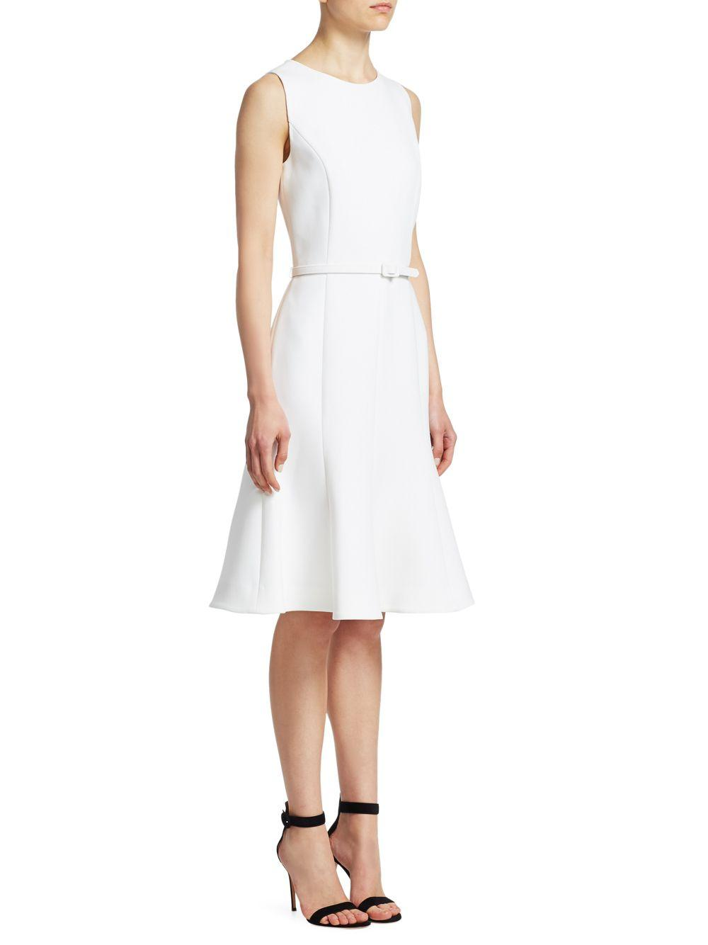 4e12950d9dd Lyst - Oscar de la Renta Crepe A-line Day Dress in White - Save 15%