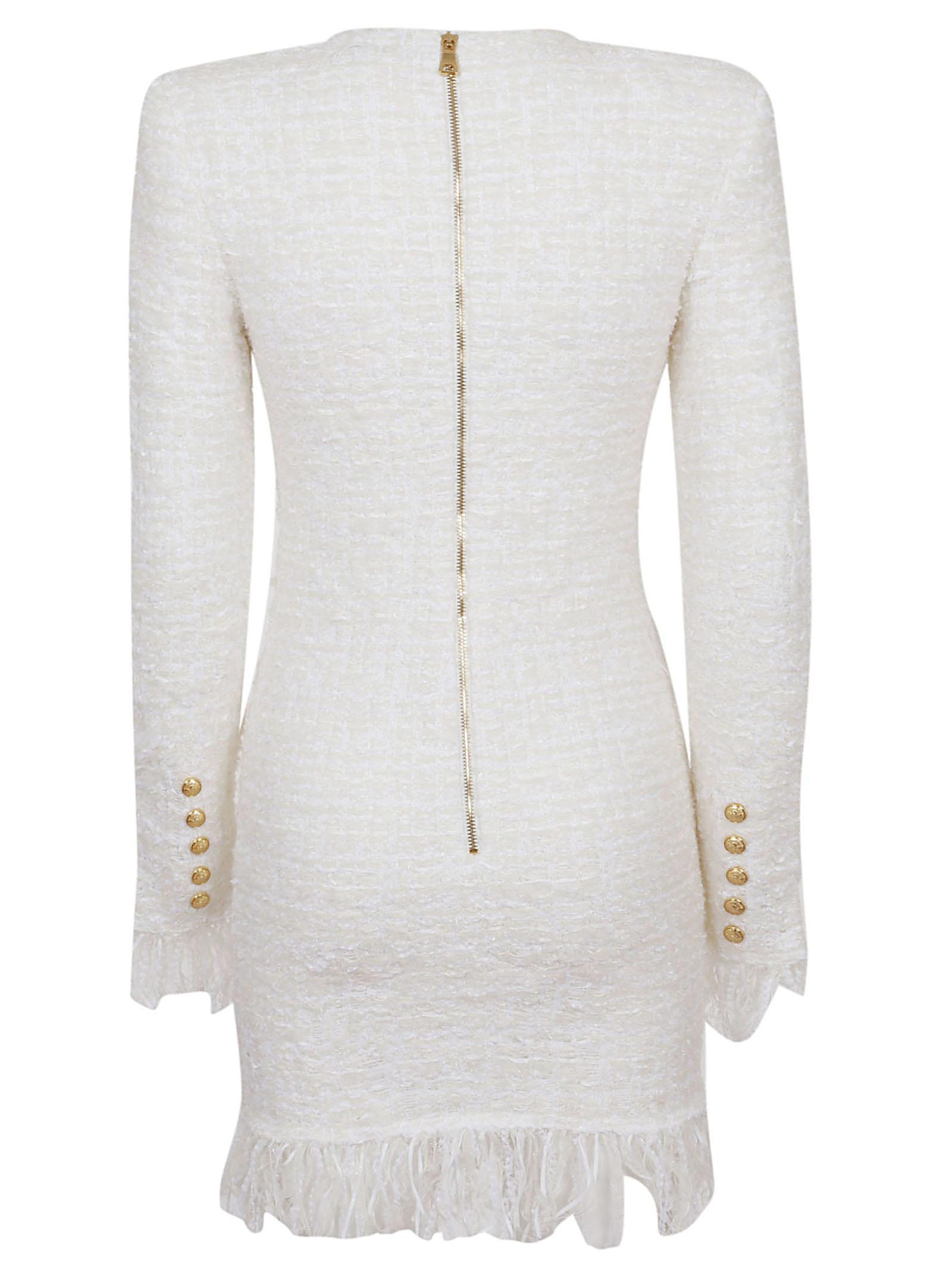 5a69a59f Lyst - Balmain Short Ls 3 Btn Fringed Tweed Dress in White
