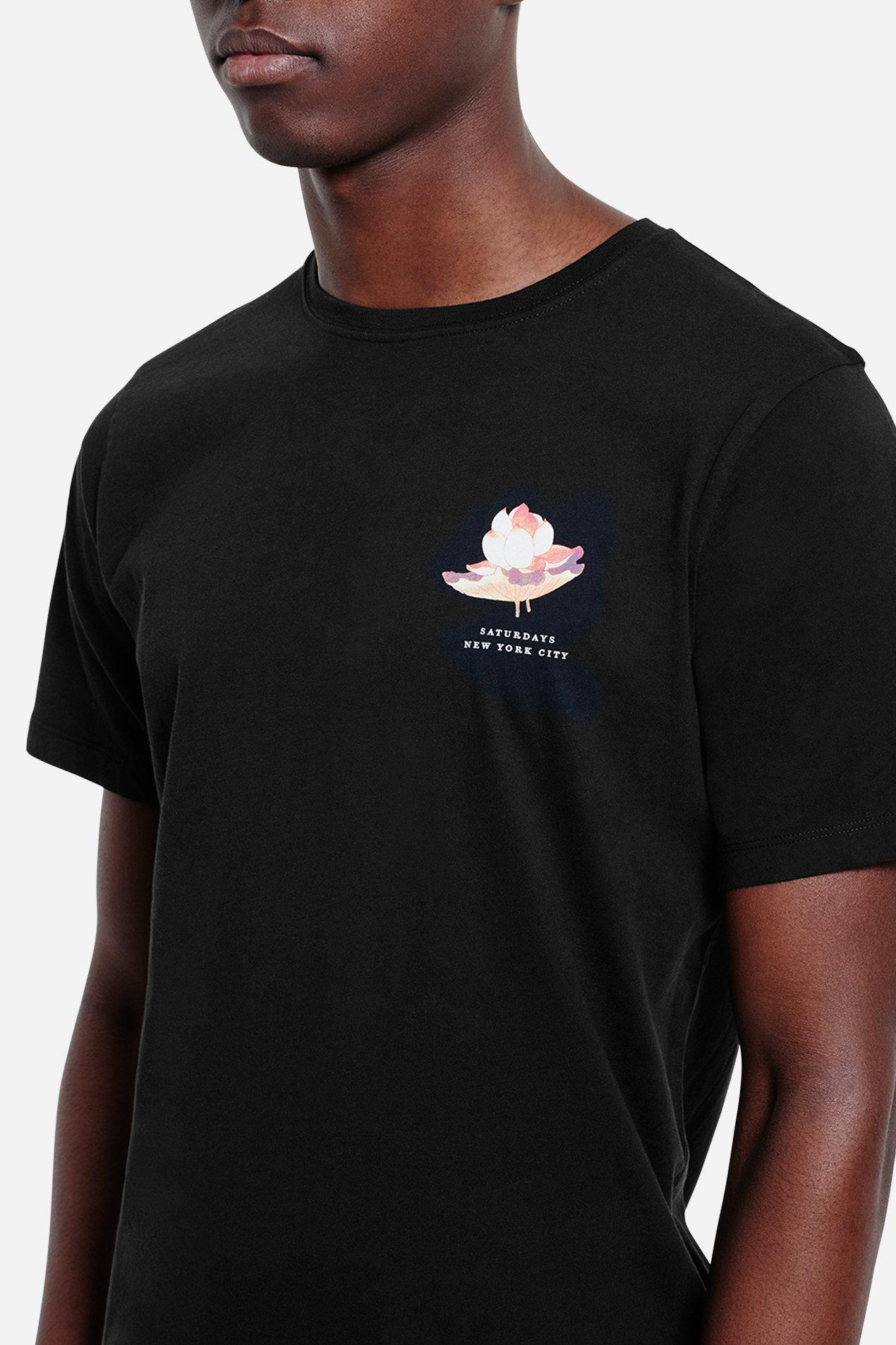 Lyst Saturdays Nyc Lotus Flower T Shirt In Black For Men
