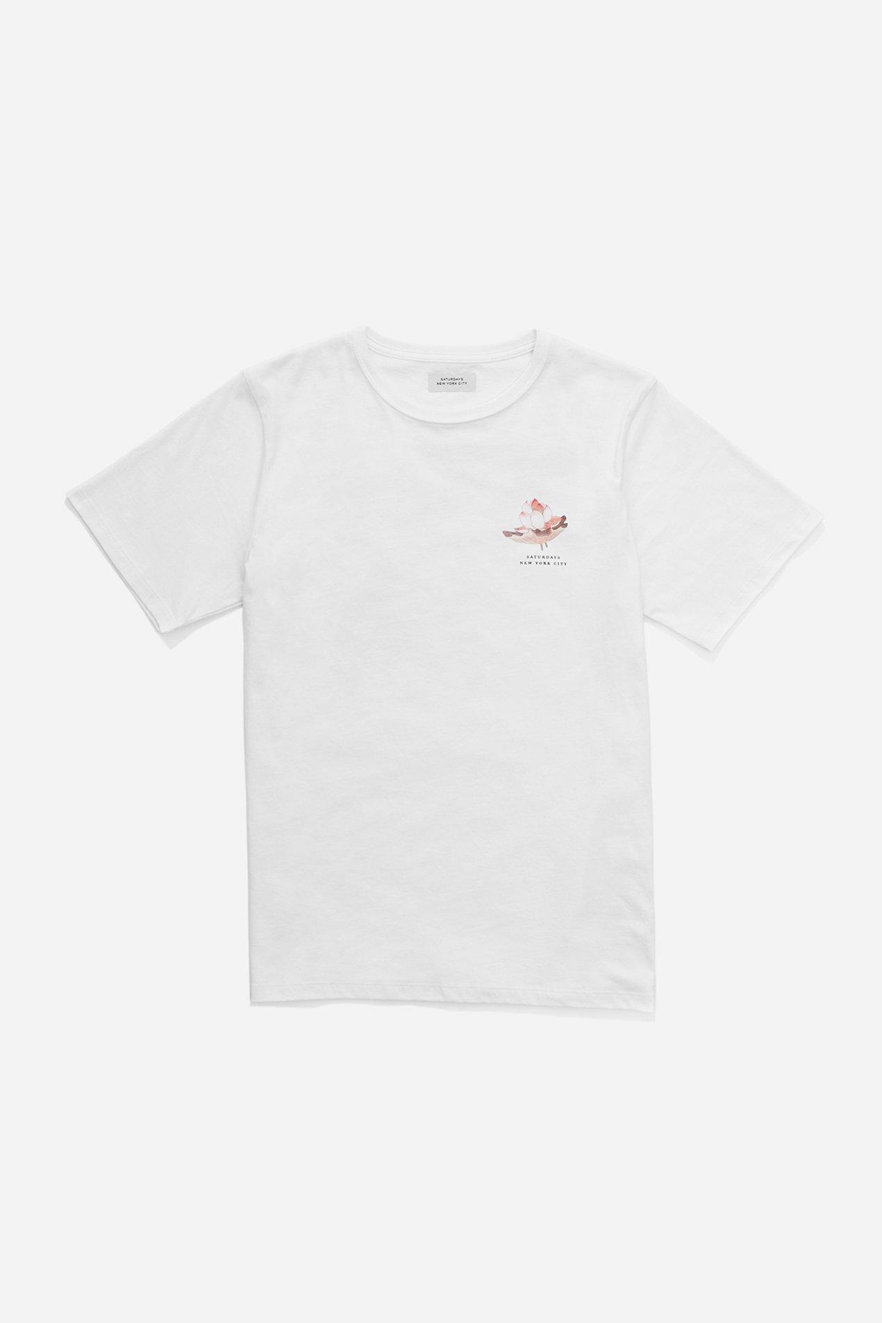 Lyst Saturdays Nyc Lotus Flower T Shirt In White For Men