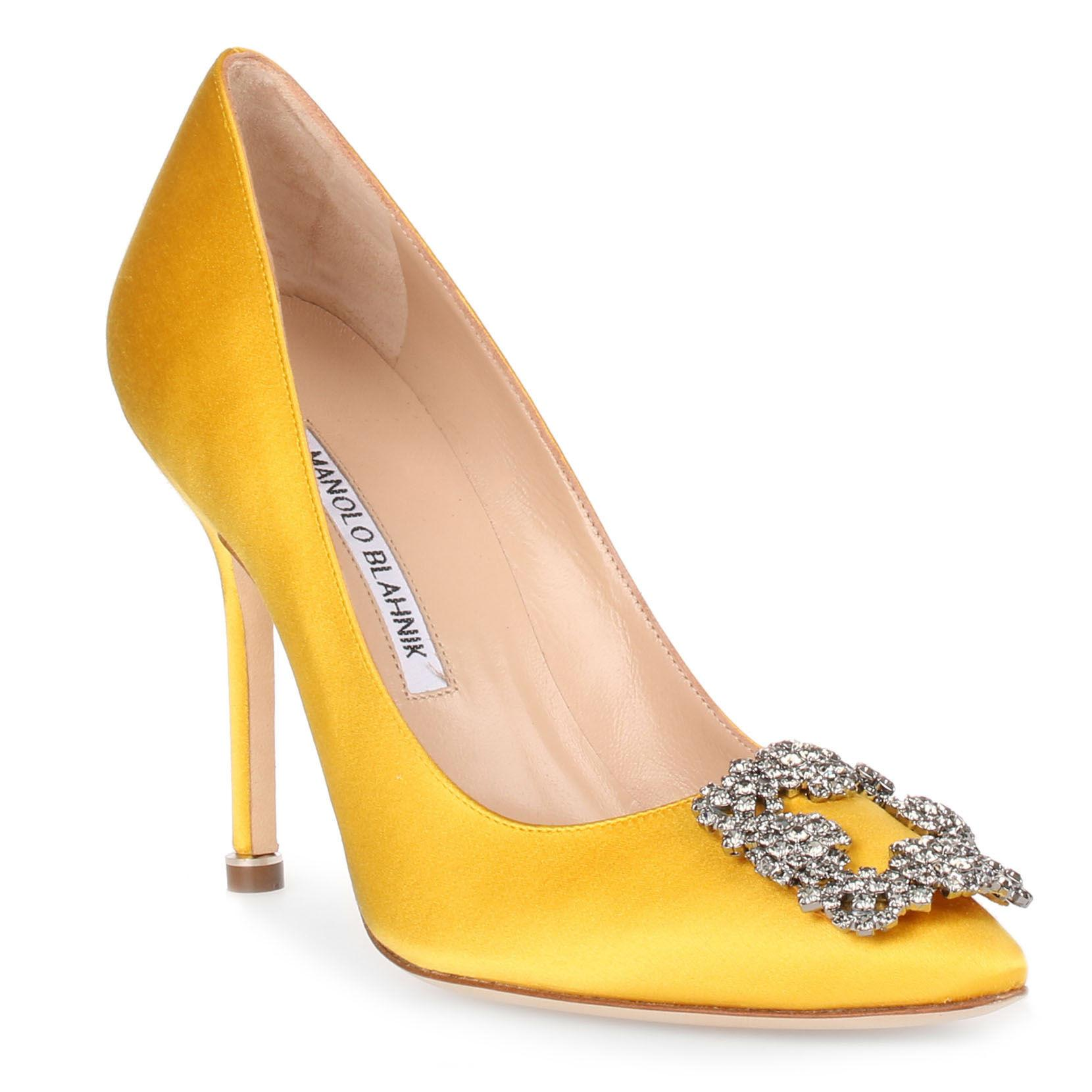 49257f74121 Lyst - Manolo Blahnik Hangisi 105 Yellow Satin Pump in Yellow