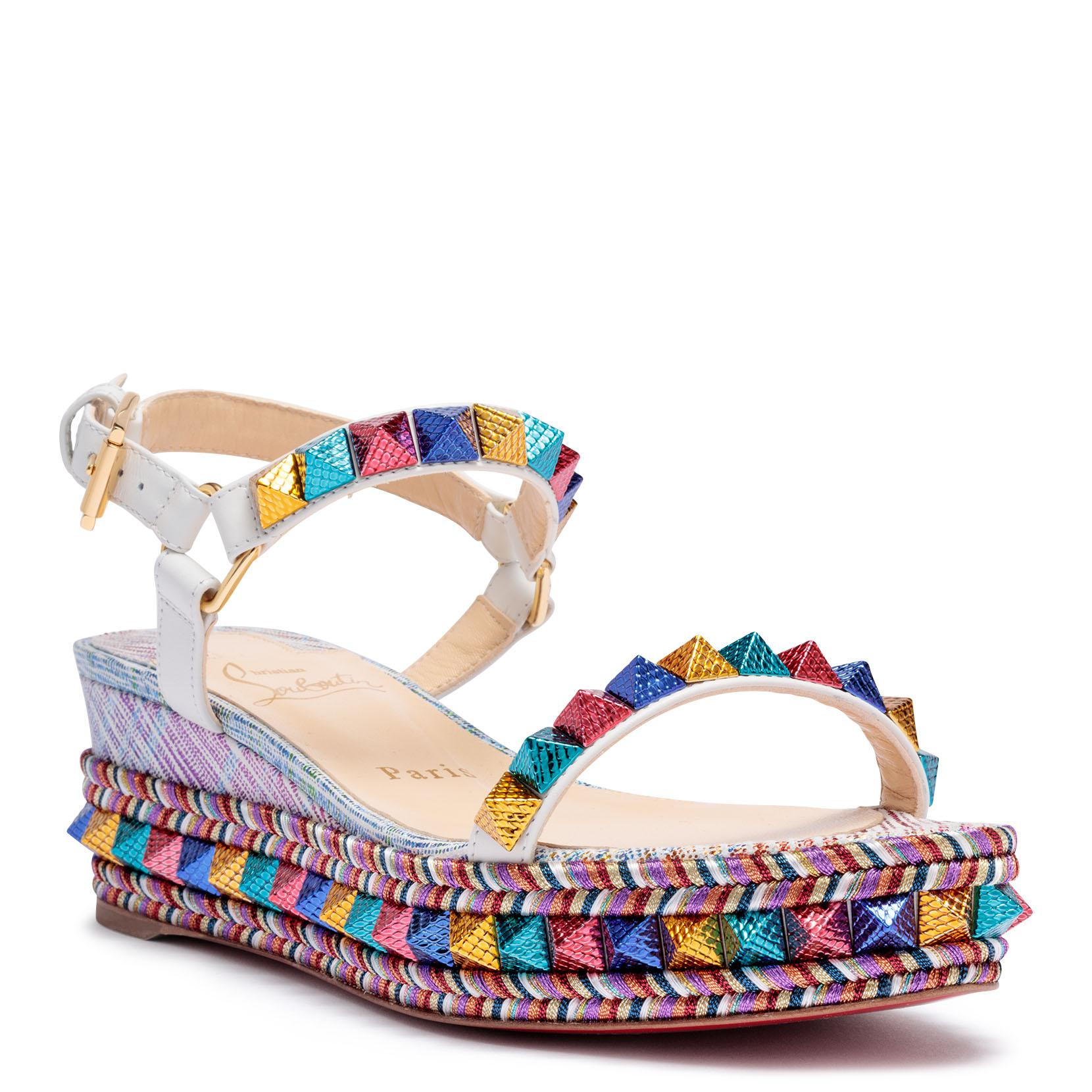 d7c78c7e74b9 Lyst - Christian Louboutin Pyraclou 60 Suede Unicorn Multi Wedges in ...