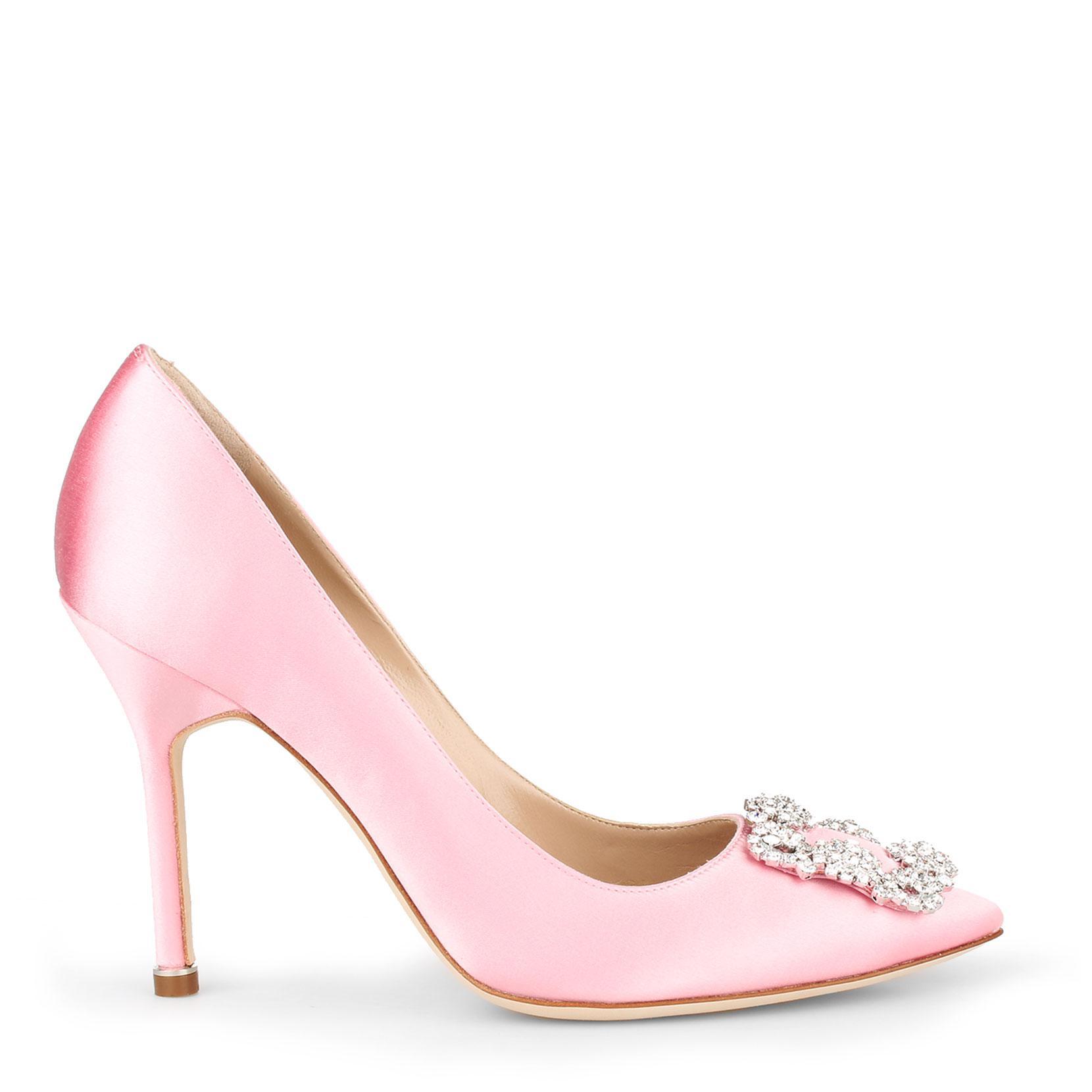 83d628a93bb1a ... Manolo Blahnik - Hangisi 105 Light Pink Satin Pump - Lyst.