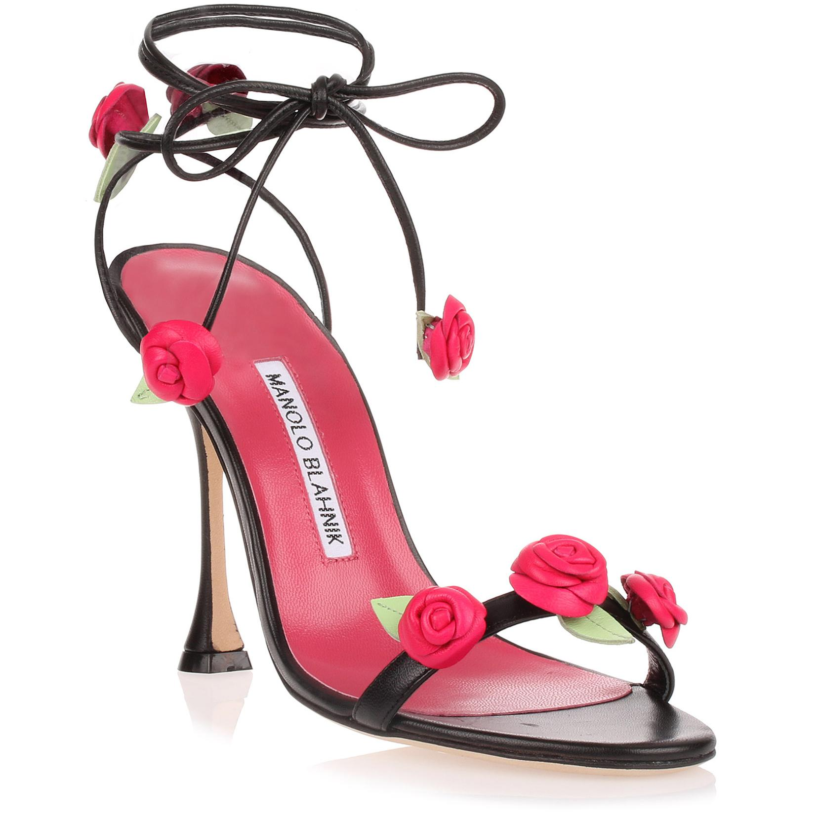 Xafiore black leather rose sandal Manolo Blahnik Clearance Real The Cheapest Cheap Price J24i3pFUj
