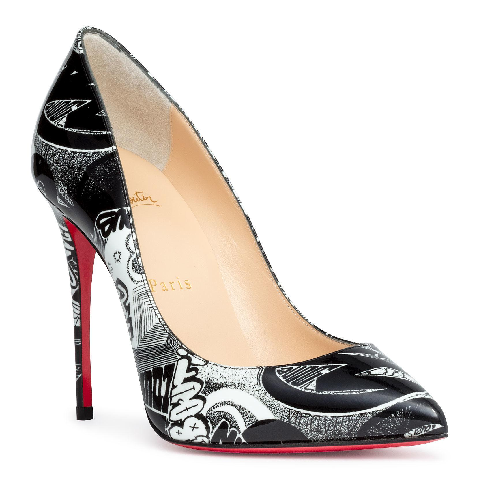 5e8913d3e75 Christian Louboutin. Women s Black Pigalle Folies 100 Printed Leather Pumps