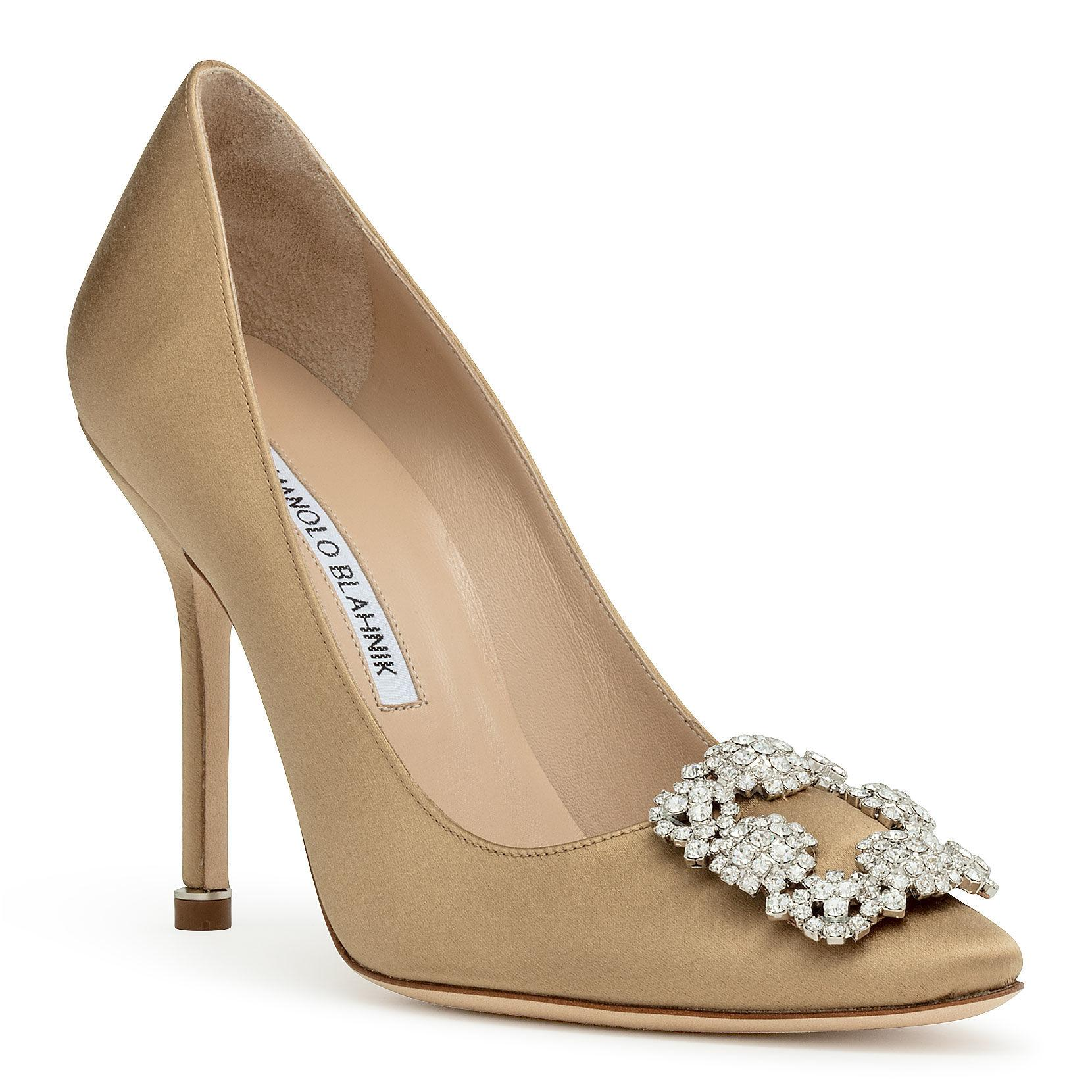 4578ecedfc4e6 Lyst - Manolo Blahnik Hangisi 105 Golden Brown Satin Pumps