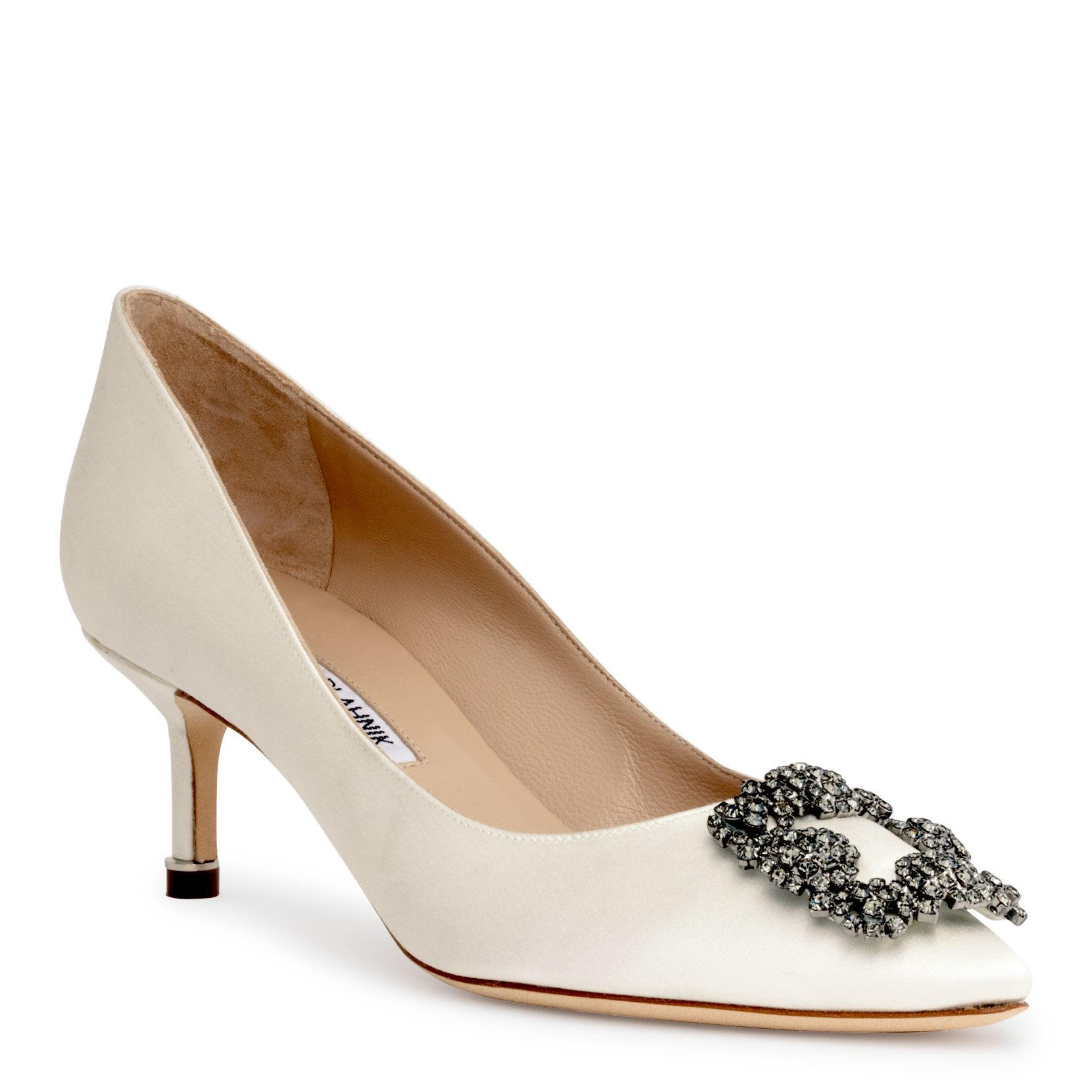 d2712a8a349b Lyst - Manolo Blahnik Hangisi 50 Satin Pump Ivory Us in White - Save 15%