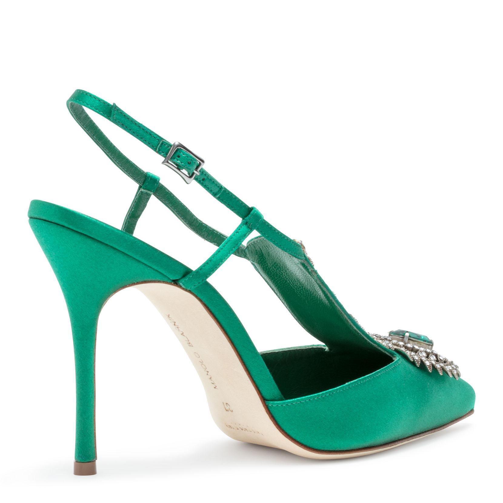 Jamala 105 Emerald Satin Pumps Manolo Blahnik CefQVp