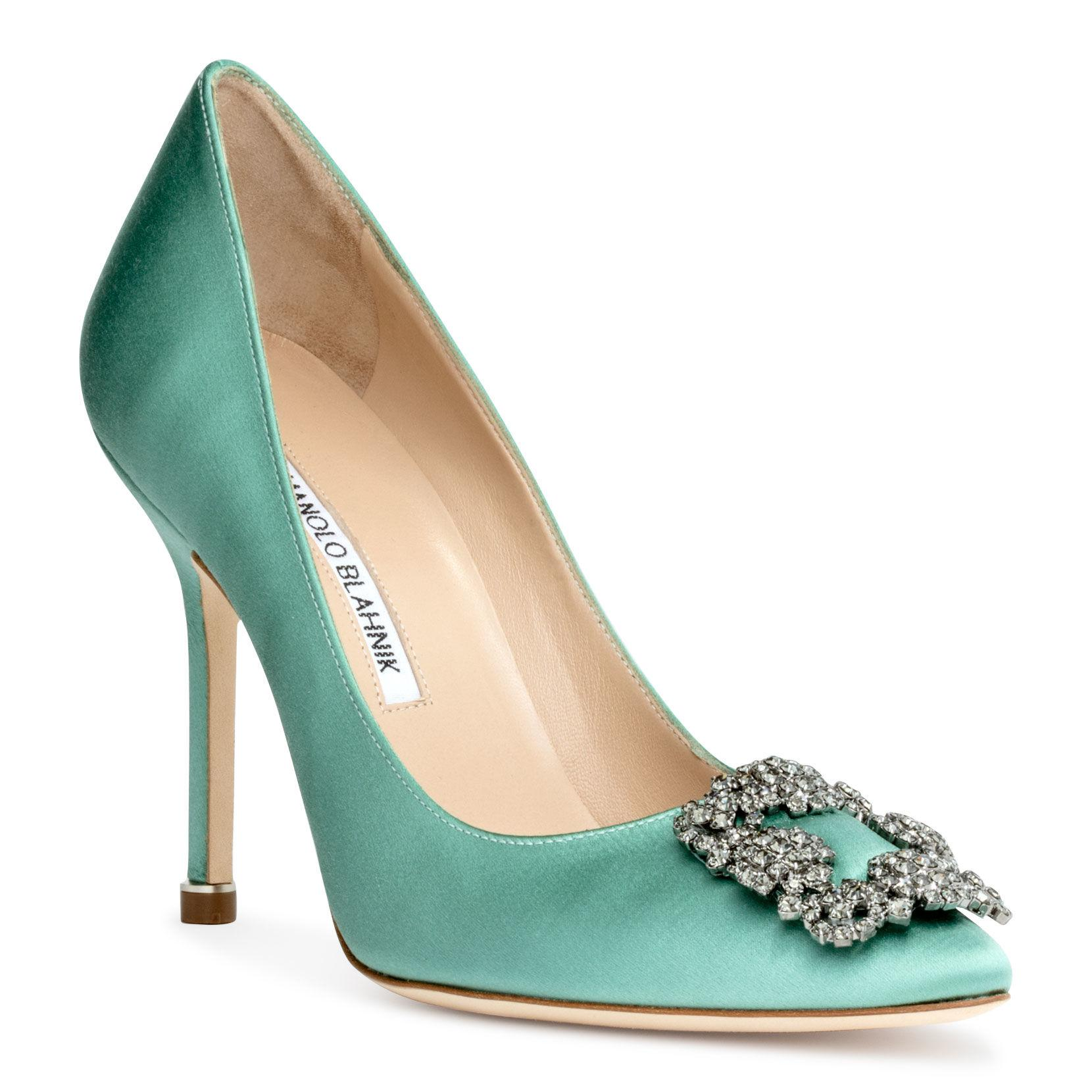 49d89664cfa Lyst - Manolo Blahnik Hangisi 105 Satin Green Fmc Pumps in Green