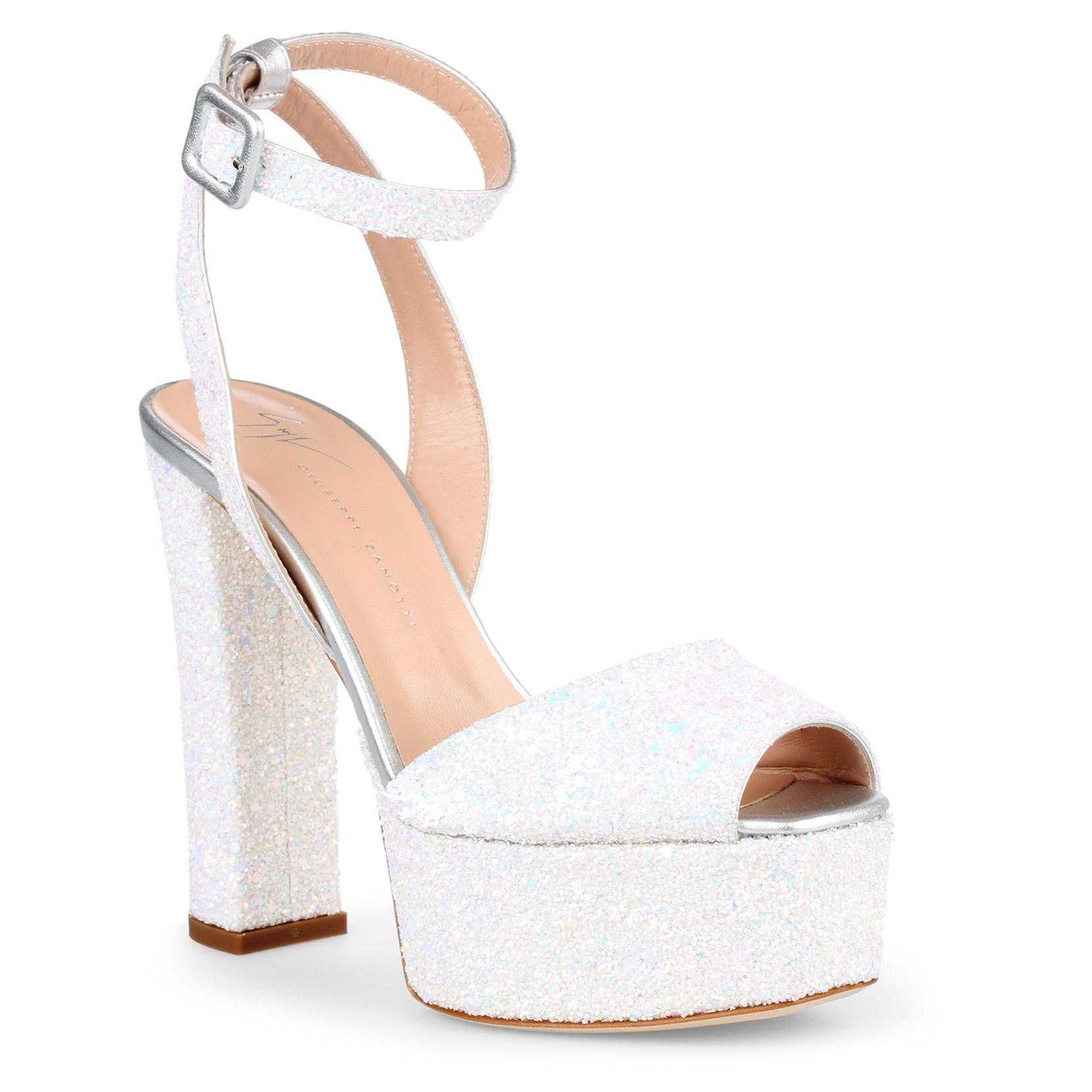 0424eeb30b57 Lyst - Giuseppe Zanotti Betty White Glitter Sandals in White