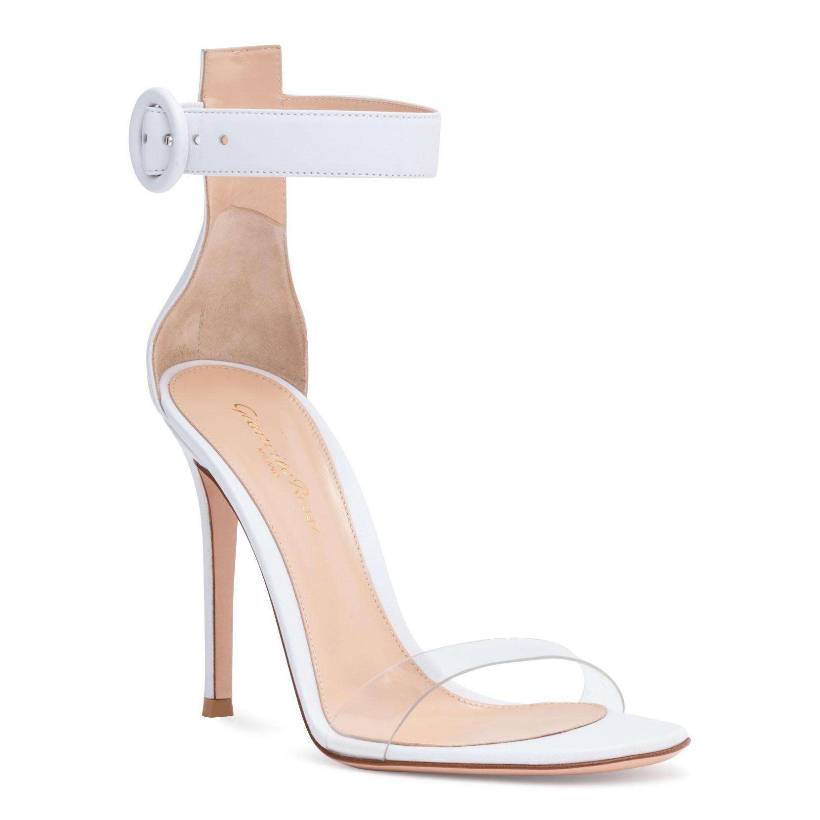 115df957a6c Gianvito Rossi Stella 105 White Plexi Leather Sandals in White - Lyst