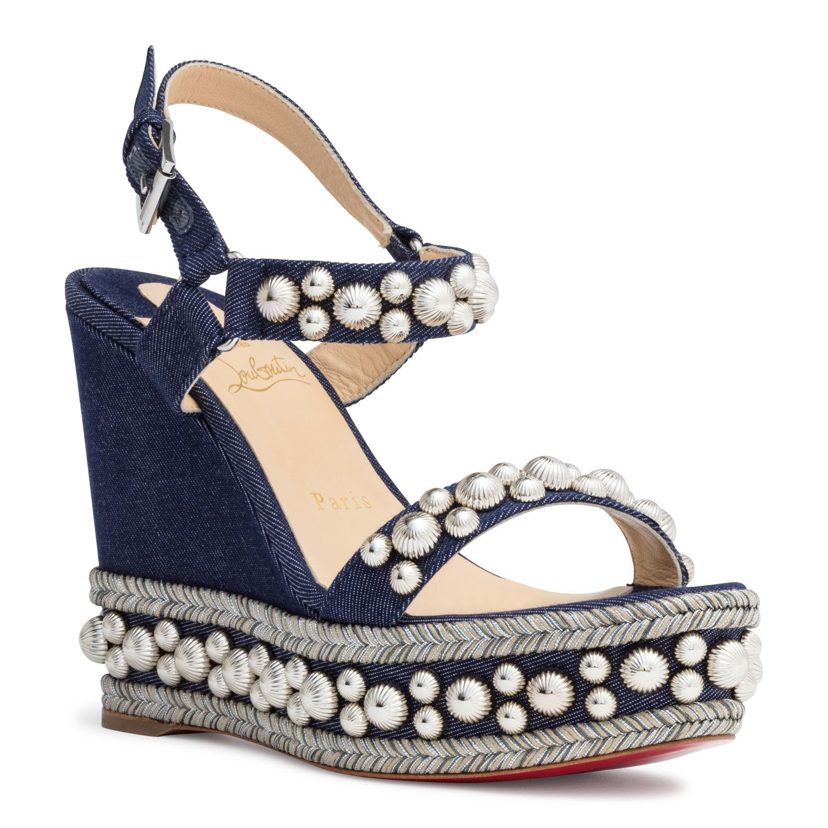 6f05e9fa6a6 Christian Louboutin Rondaclou 120 Blue Denim Wedge Sandals in Blue ...