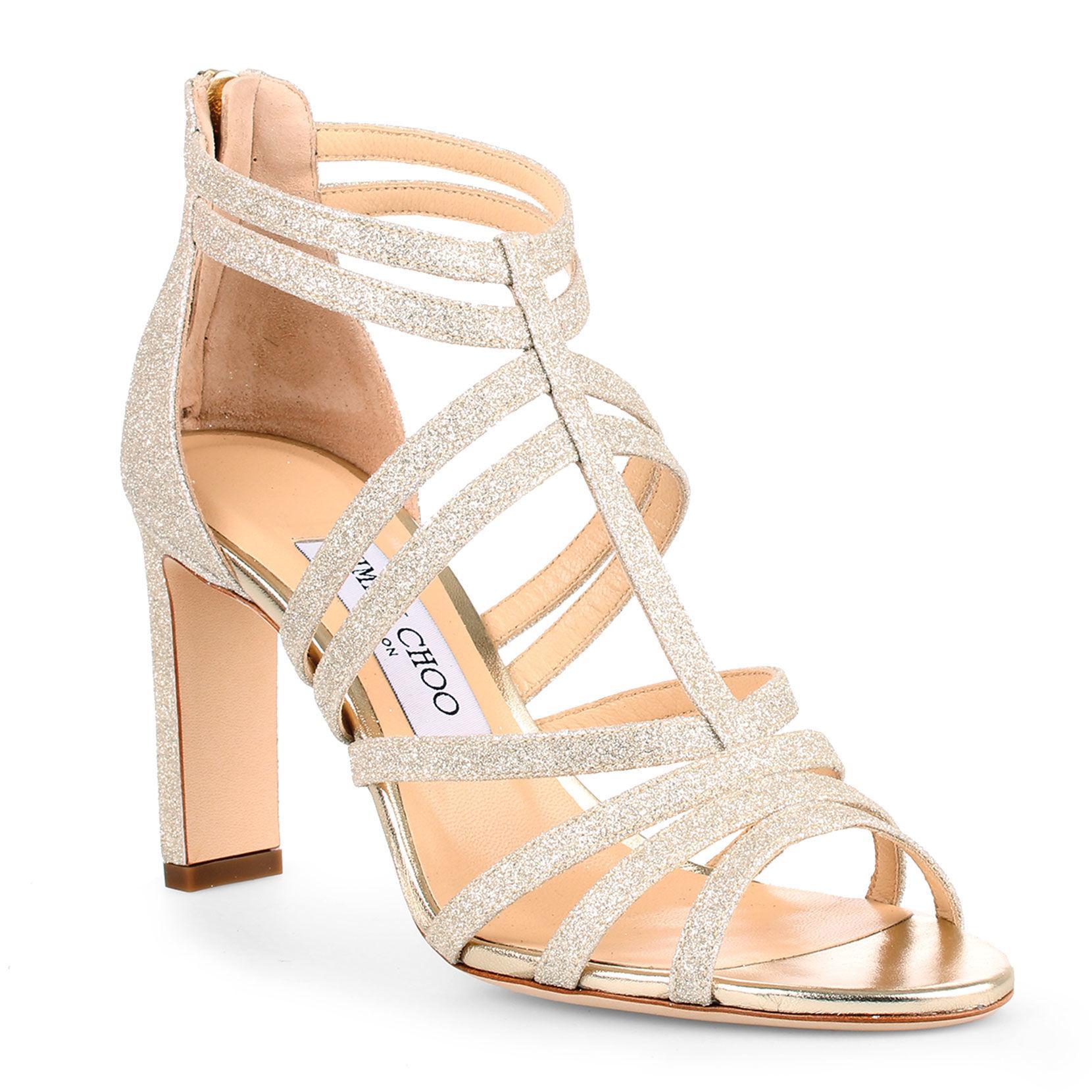 40ef5282914 Lyst - Jimmy Choo Selina 85 Dusty Glitter Sandals in Metallic