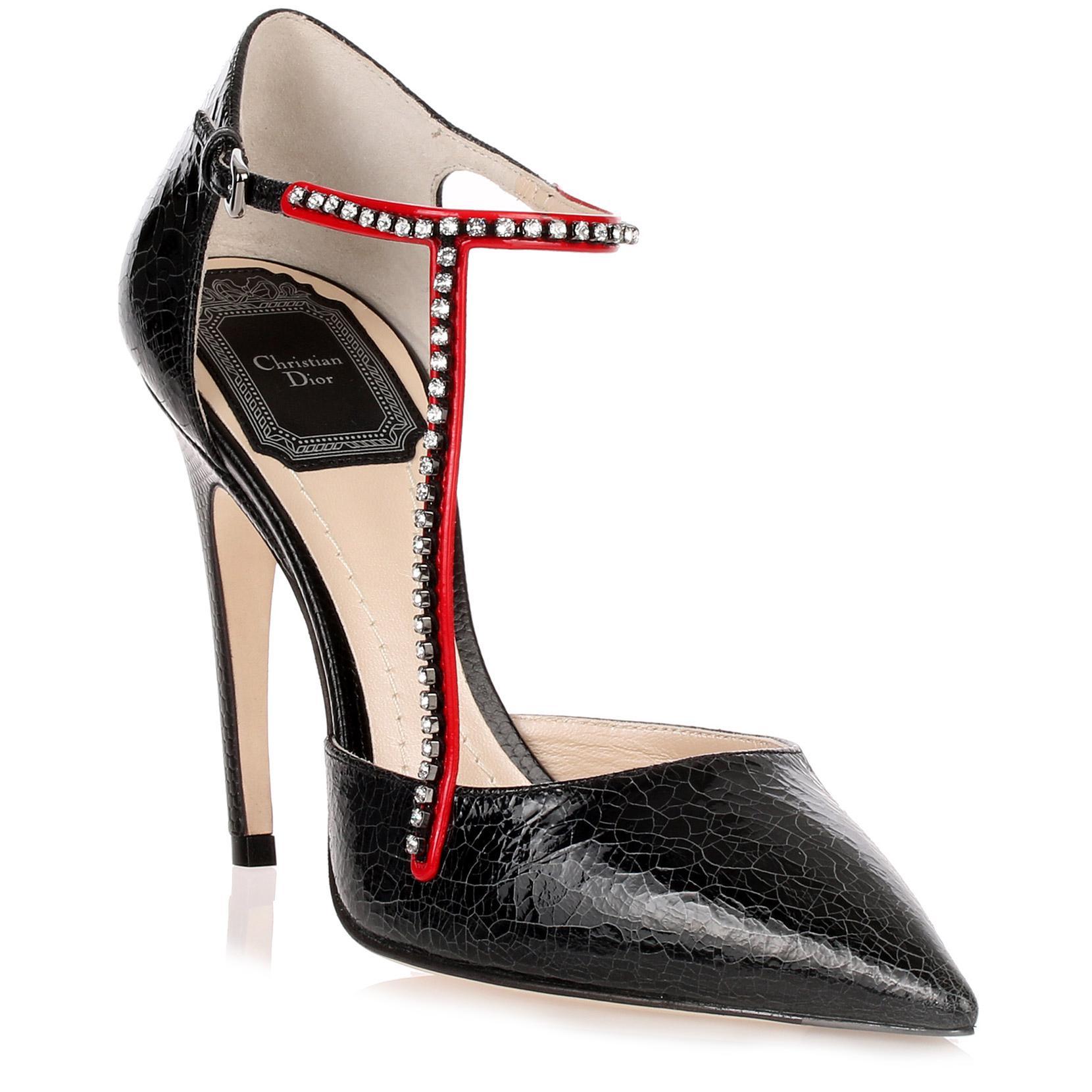 32dd49c8aad7 Dior T-strass Black Crackled Pump in Black - Lyst