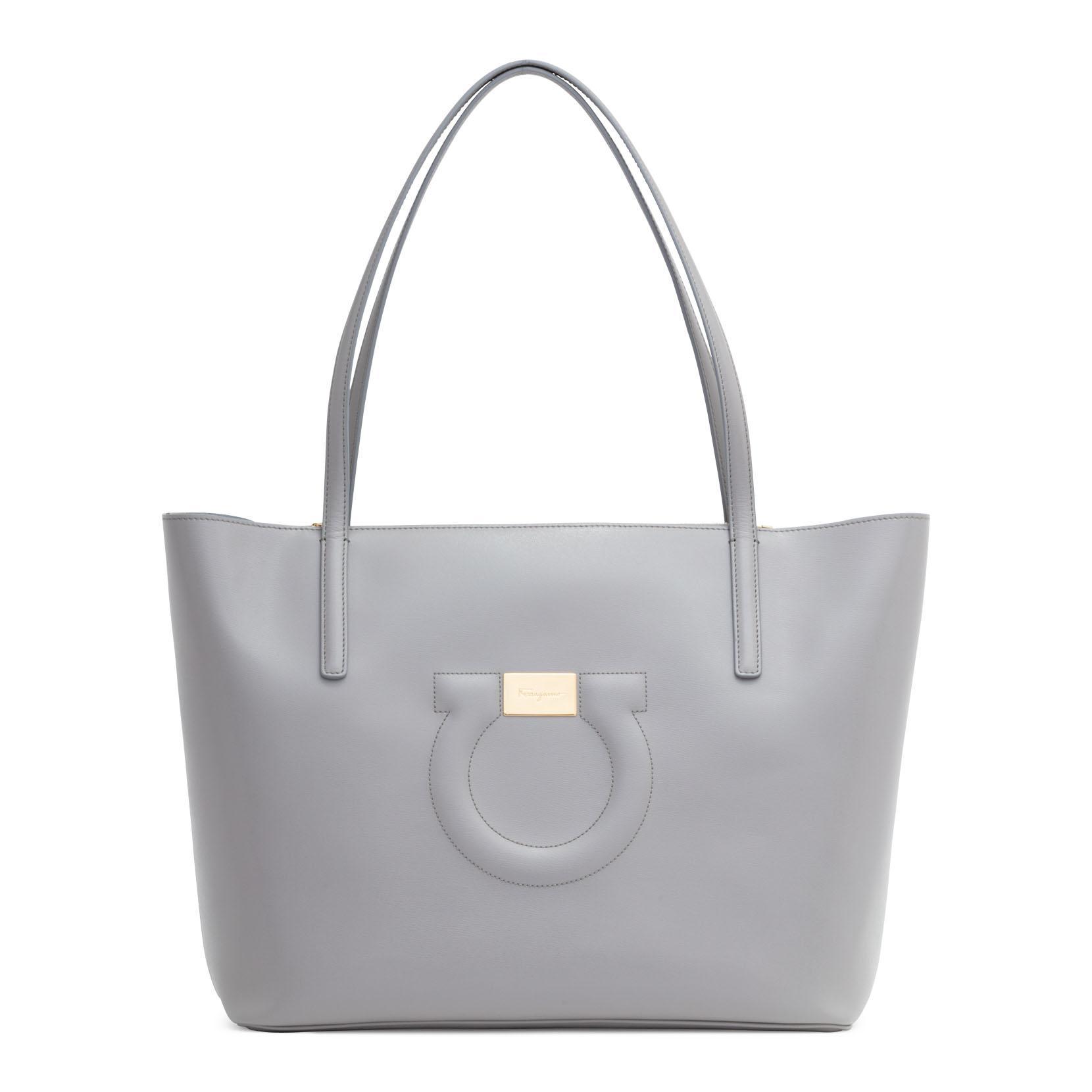 Salvatore Ferragamo Gancio City Light Grey Leather Tote Bag 4GanK8