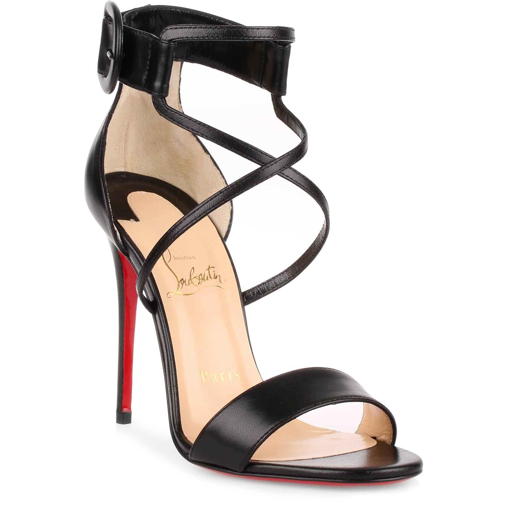 c81068cd0e89 ... australia christian louboutin. womens choca 100 black leather sandal  4ecb8 f5caa