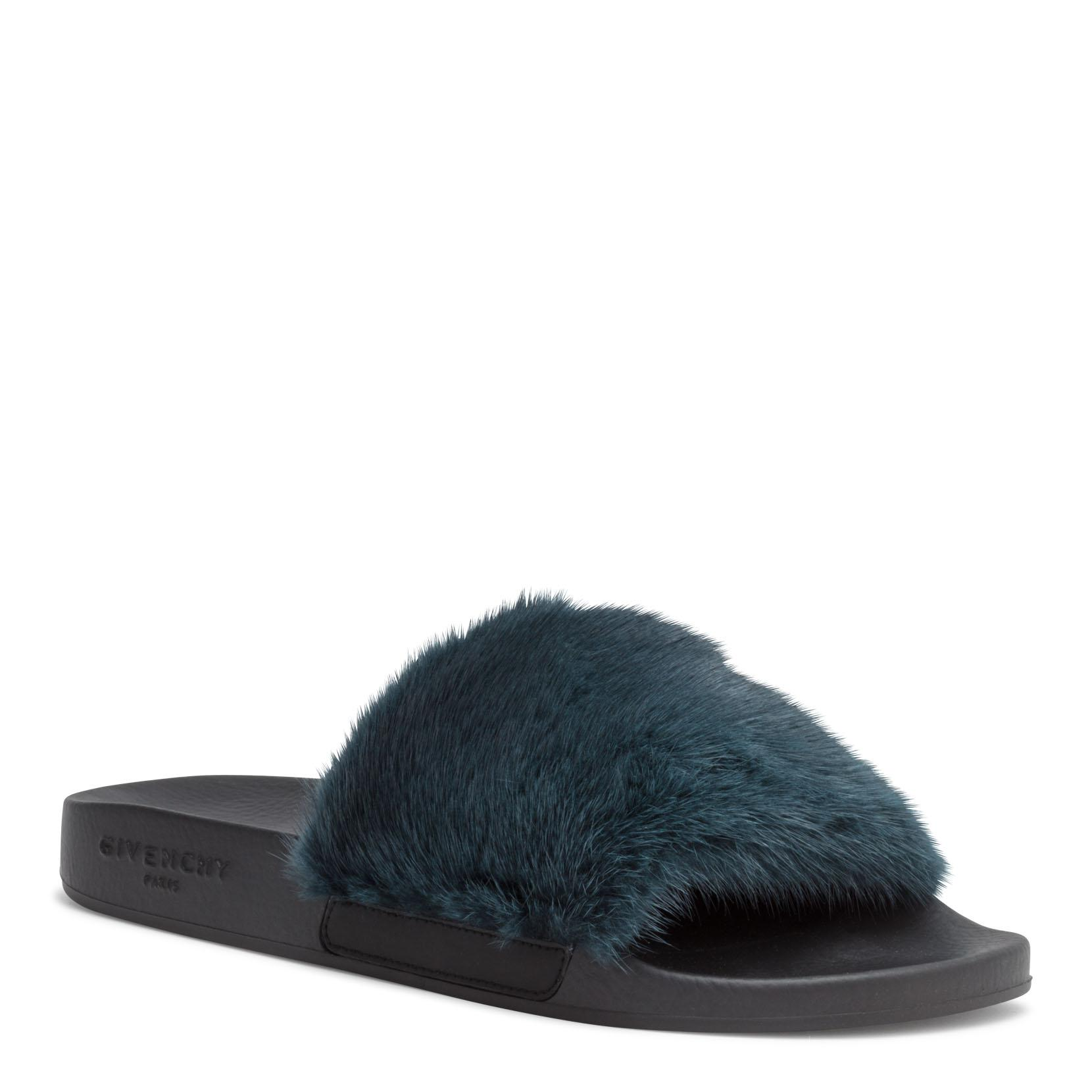 9b80b0770982 Lyst givenchy dark green mink slide sandal in blue jpg 1660x1660 Givenchy  mink slides