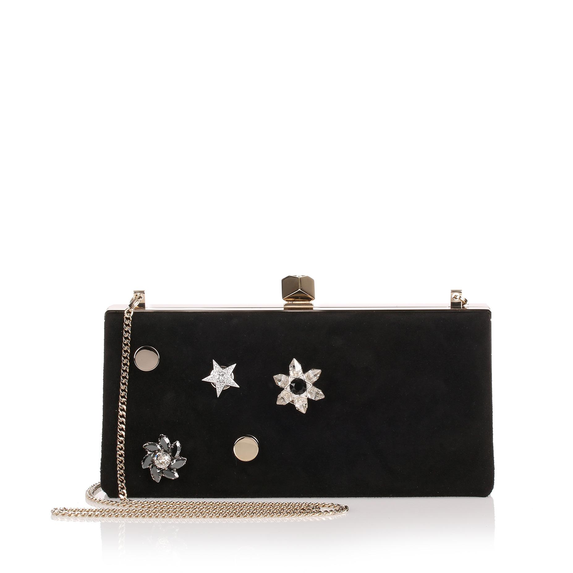 98f739547f Jimmy Choo Celeste Small Black Suede Clutch in Black - Lyst