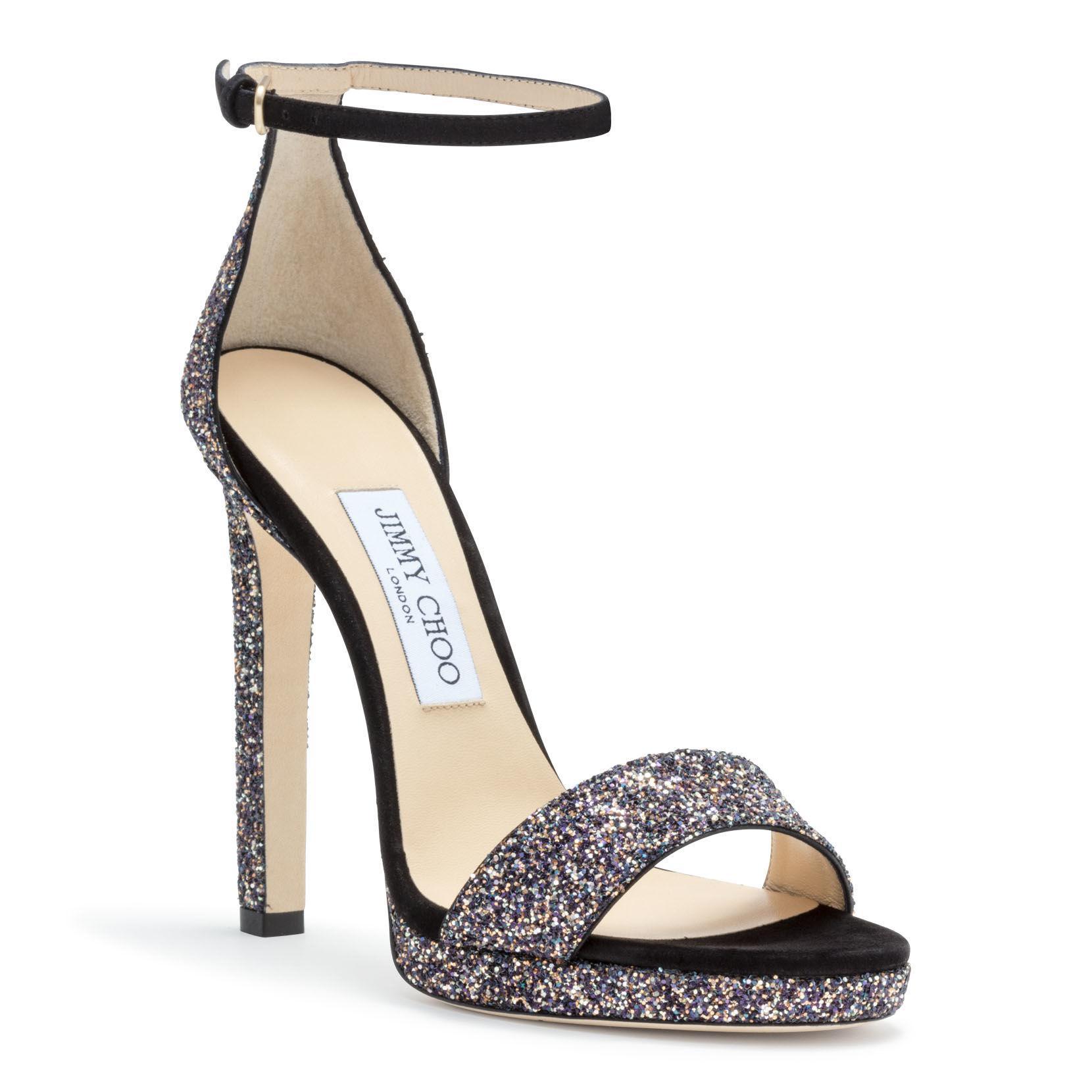 cf439ae746d7 Jimmy Choo - Metallic Misty 120 Black Suede Glitter Sandals - Lyst. View  fullscreen