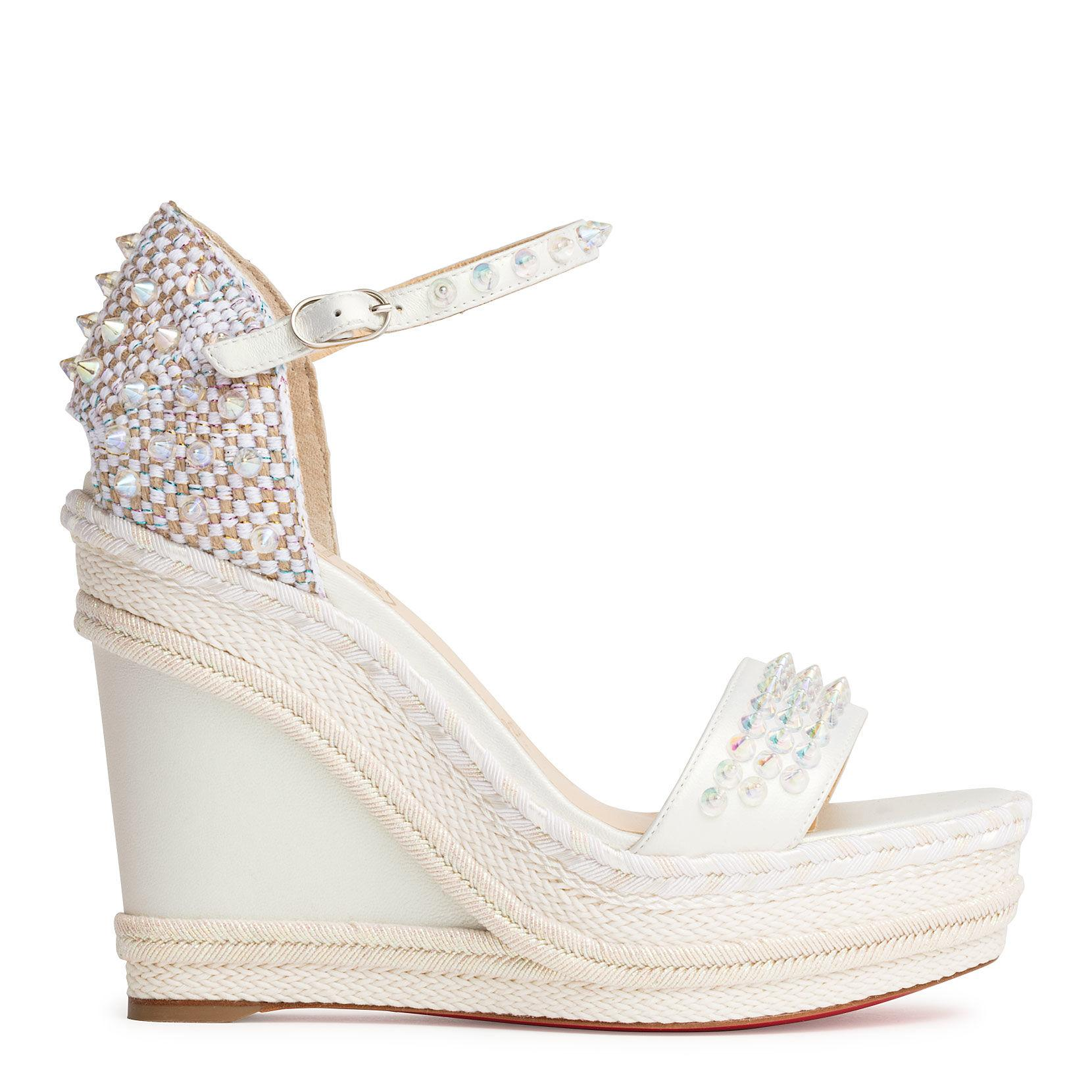2103bb4632 ... Christian Louboutin - Madmonica 120 White Leather Wedges - Lyst. Visit  Savannahs. Tap to visit site