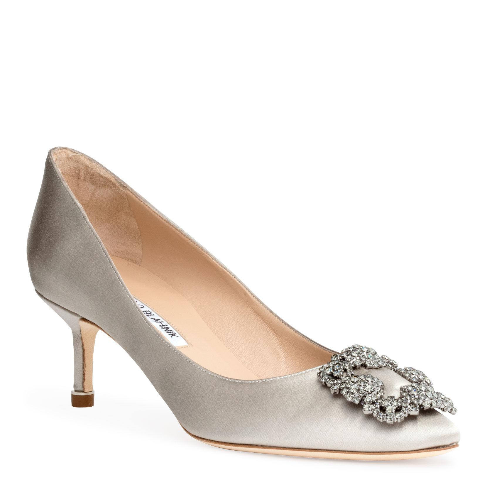 4289f1f4d1c6 Manolo Blahnik. Women s Hangisi 50 Satin Silver Grey Pumps