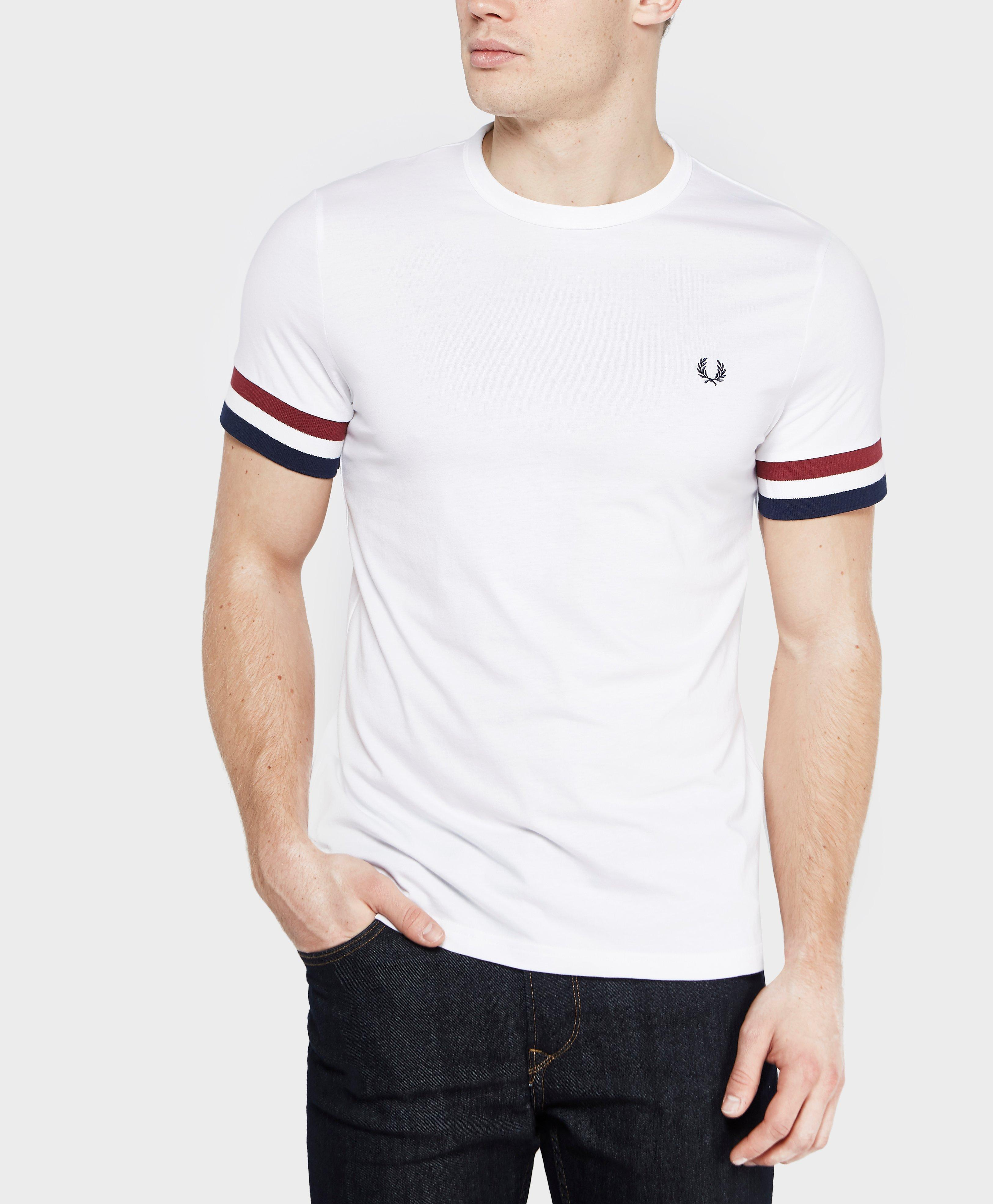 Fred Perry Stripe Cuff T Shirt In White For Men Lyst