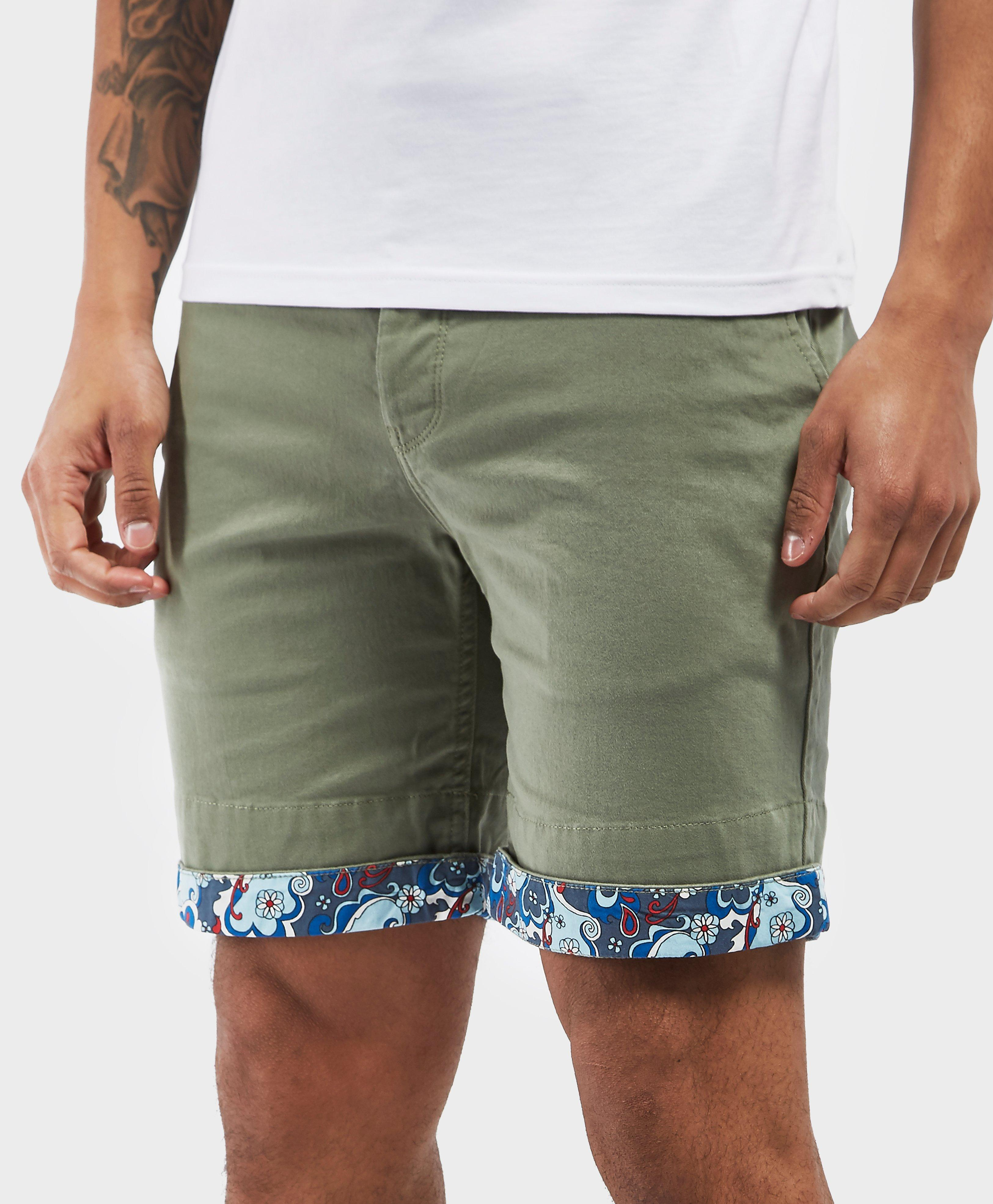 f4d6a10332 Pretty Green Beaufort Paisley Turn Up Shorts - Exclusive in Green ...