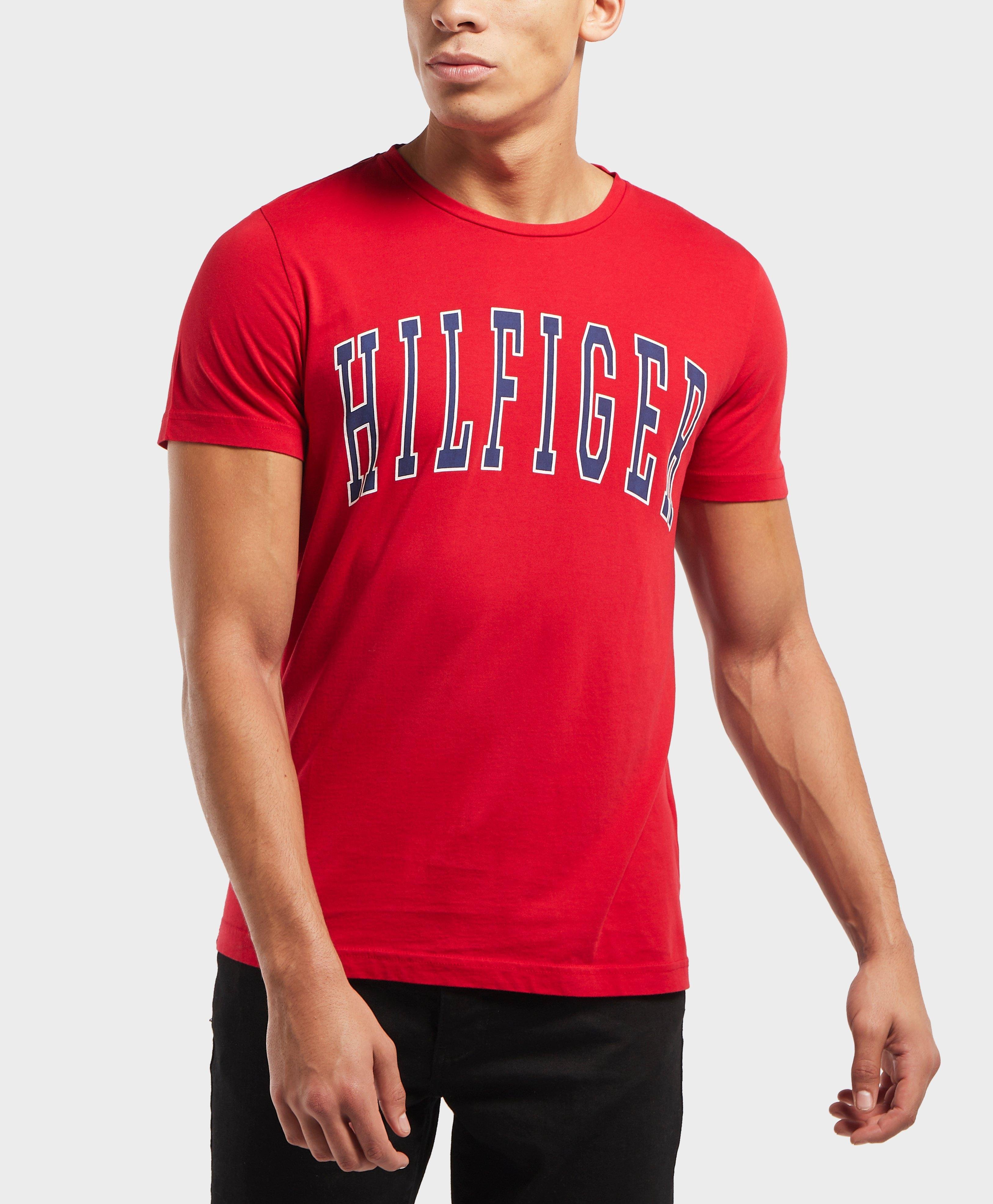 8bcce32b Lyst - Tommy Hilfiger College Logo Short Sleeve T-shirt in Red for ...