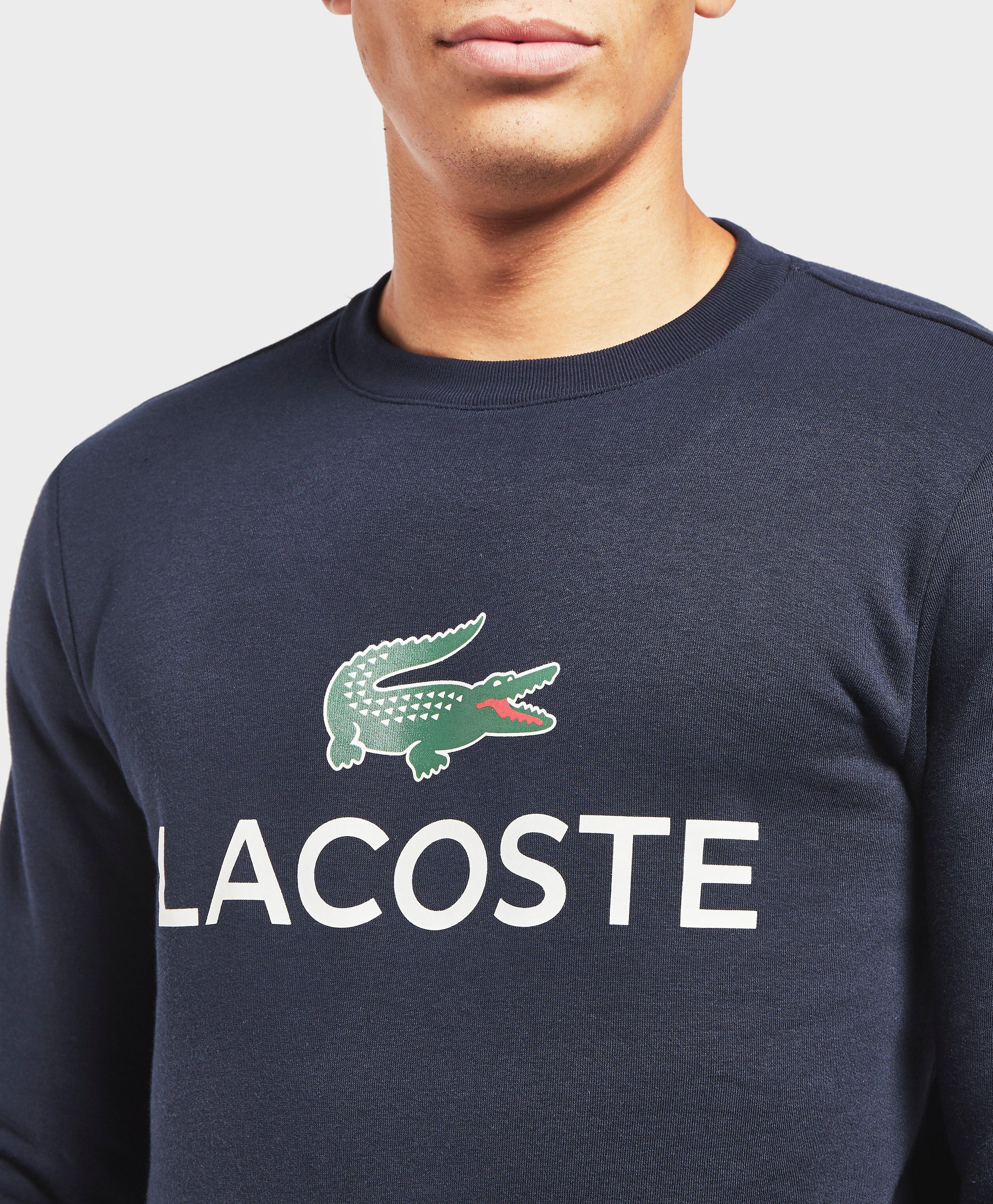 76306d6ad15257 Lyst - Lacoste Large Logo Crew Sweatshirt in Blue for Men