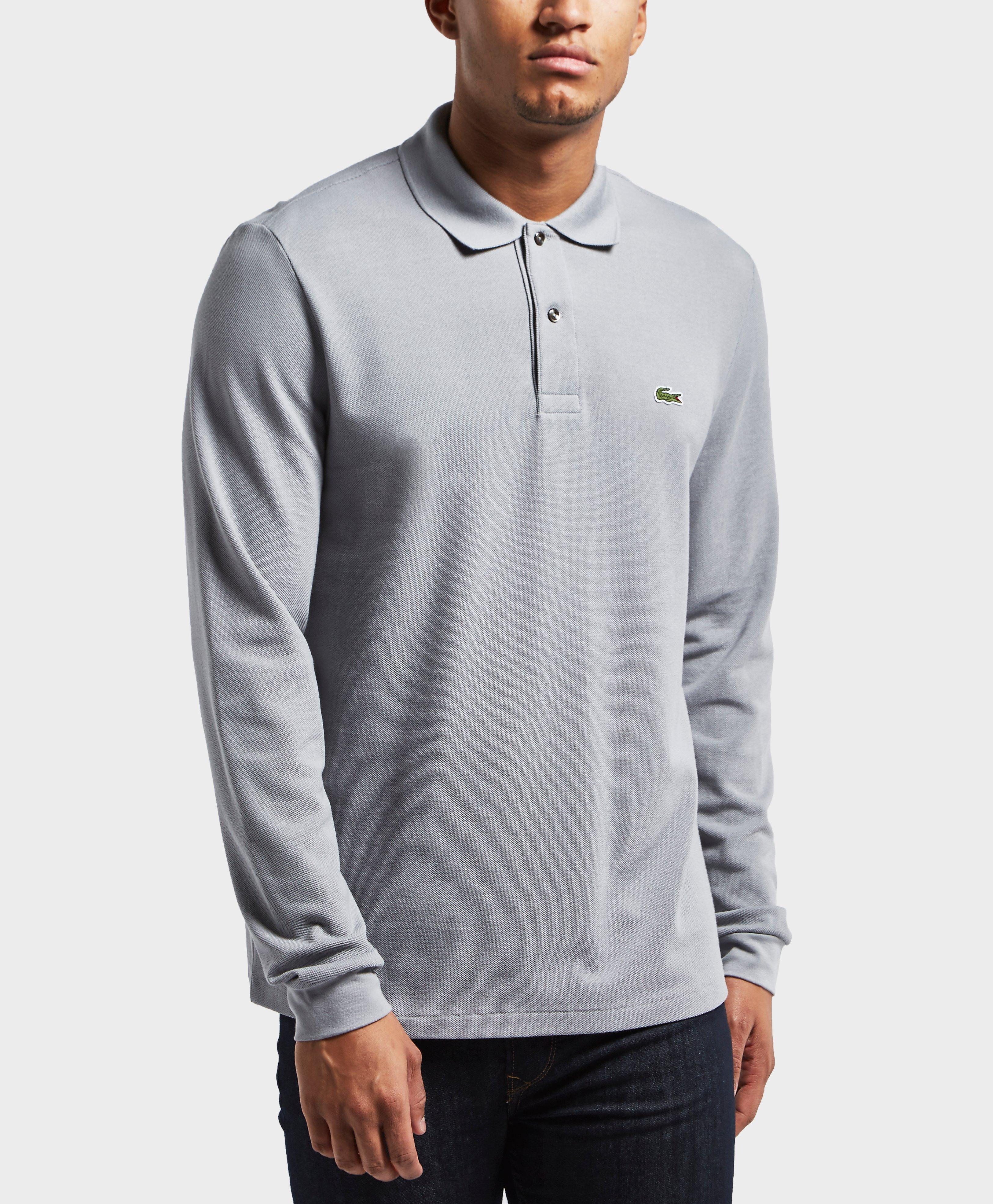 Lyst lacoste long sleeve polo shirt in gray for men for Polo shirts long sleeve men