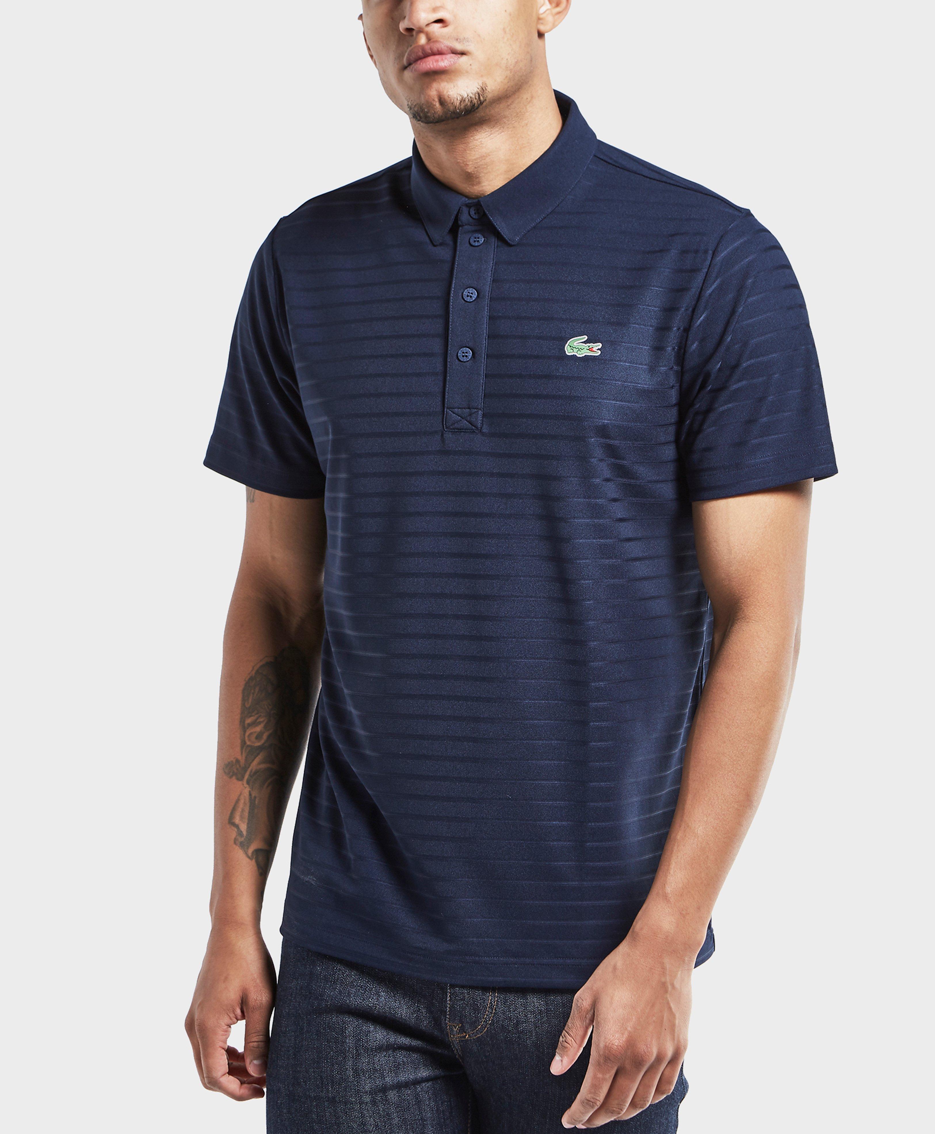 Lyst lacoste striped short sleeve polo shirt in blue for men for Mens short sleeve patterned shirts