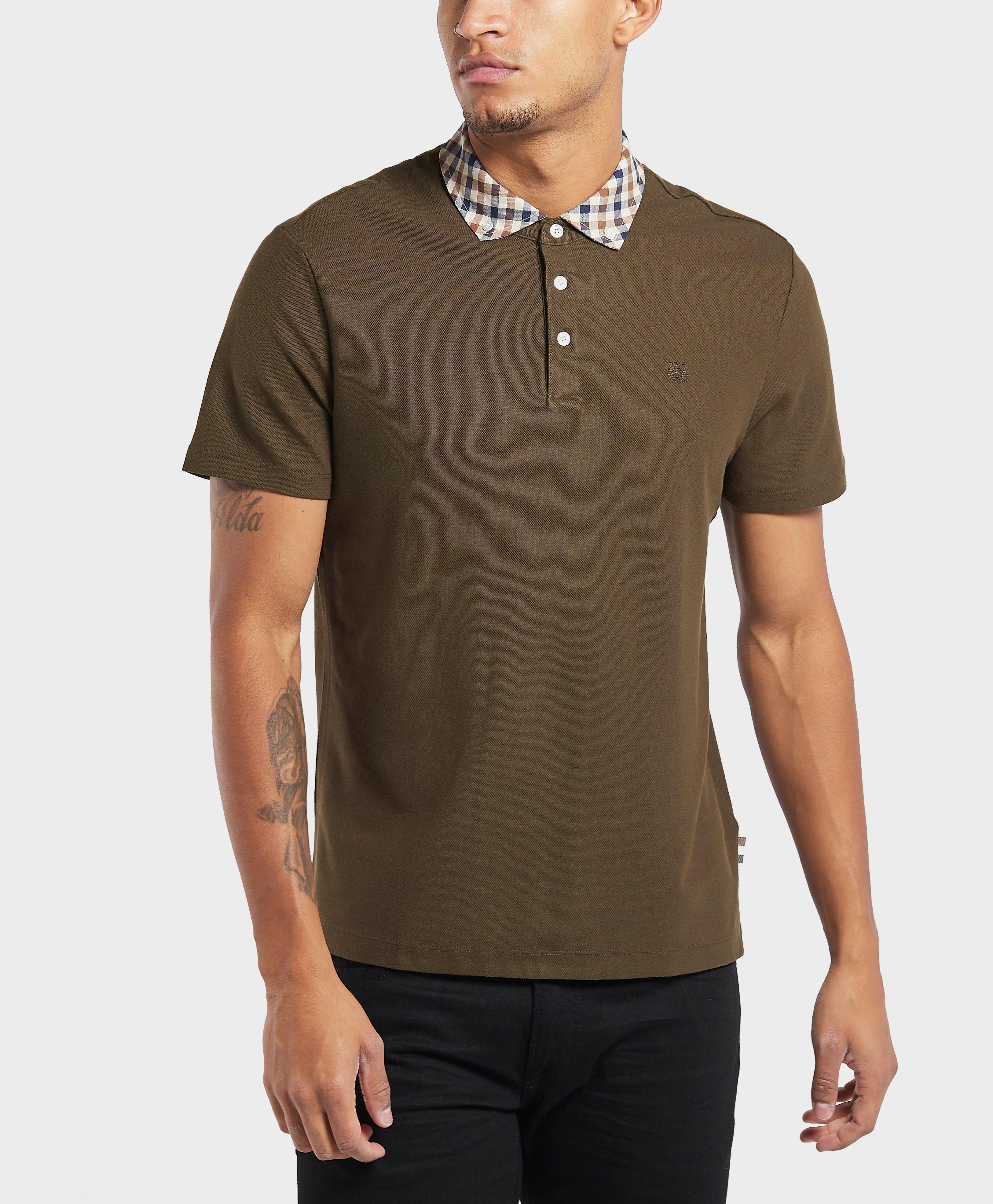 014a1cb86 Aquascutum Club Check Collar Short Sleeve Polo Shirt for Men - Lyst