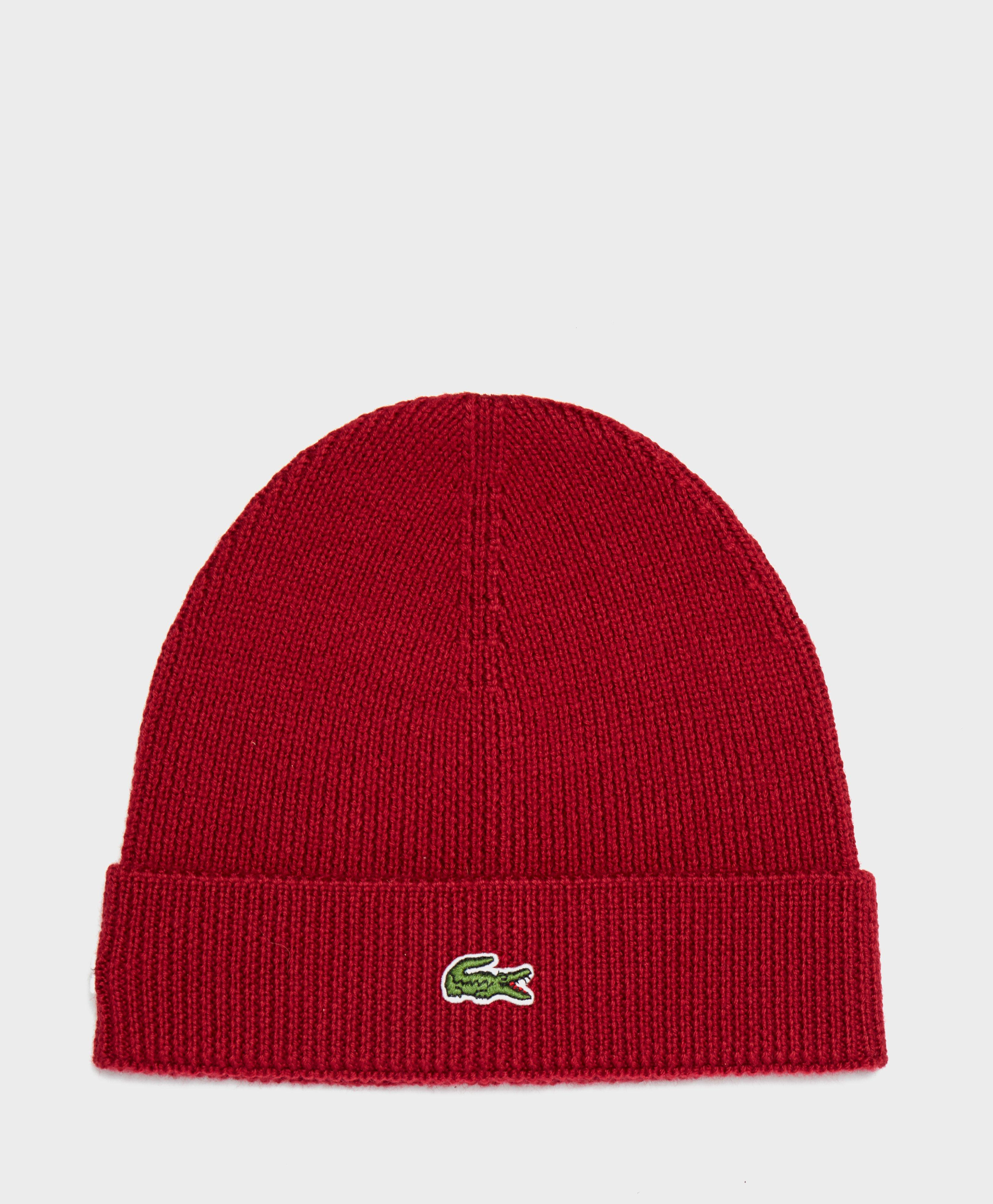 Lyst - Lacoste Ribbed Beanie in Red for Men 38febf5341b8