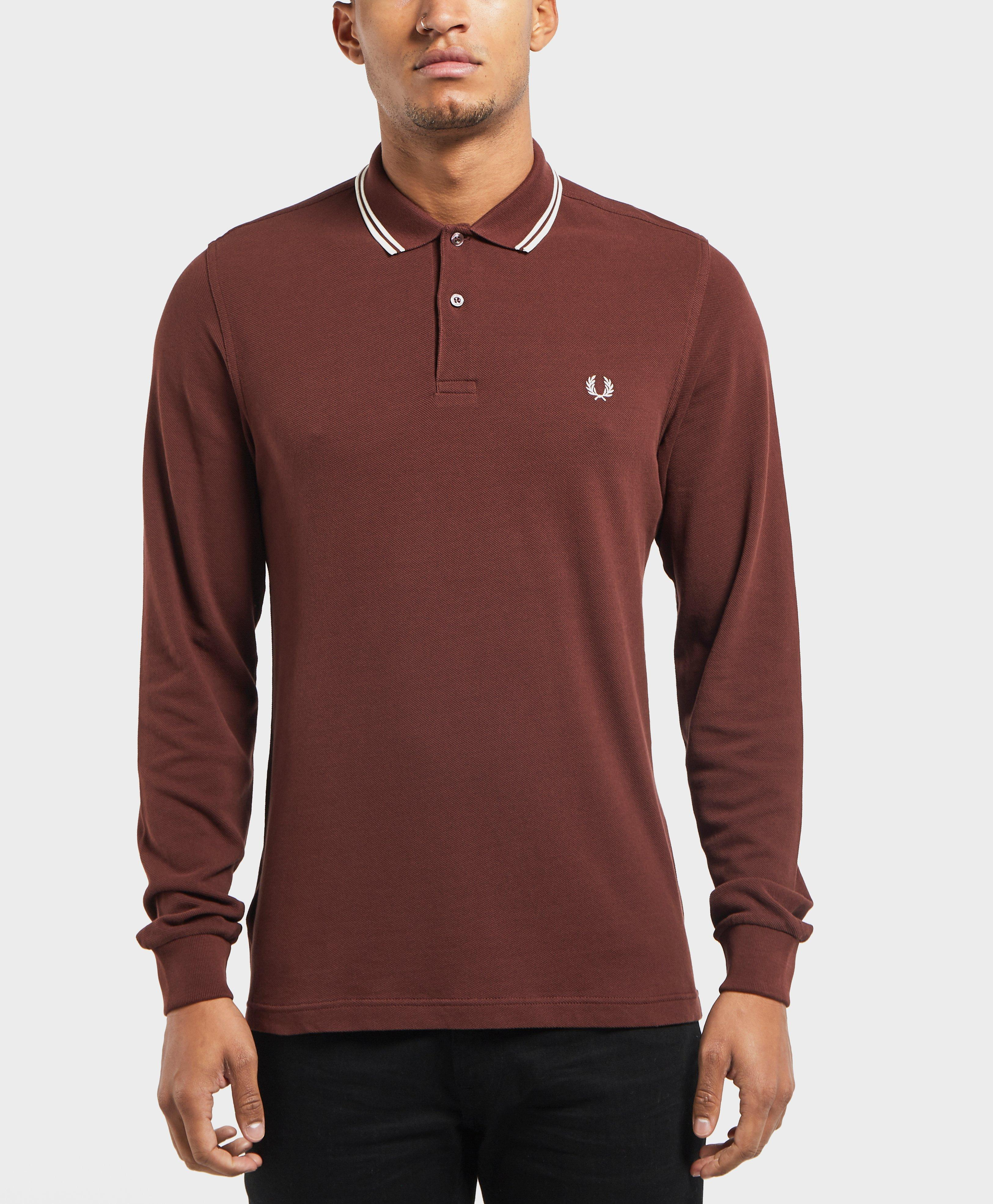 Lyst Fred Perry Long Sleeve Twin Tip Polo Shirt In Red For Men