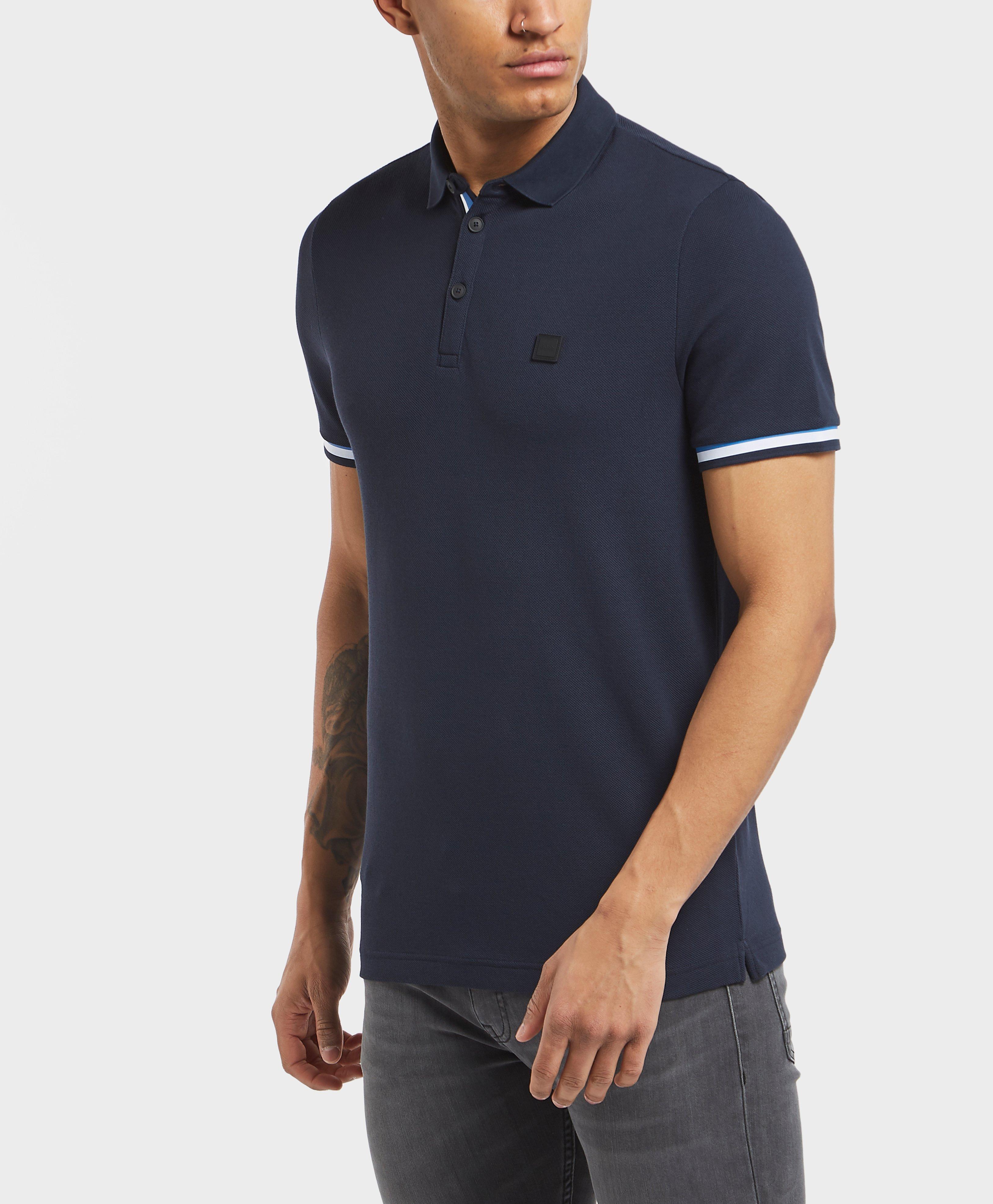 d8c3f5c55 Lyst - BOSS Print Pique Short Sleeve Polo Shirt in Blue for Men